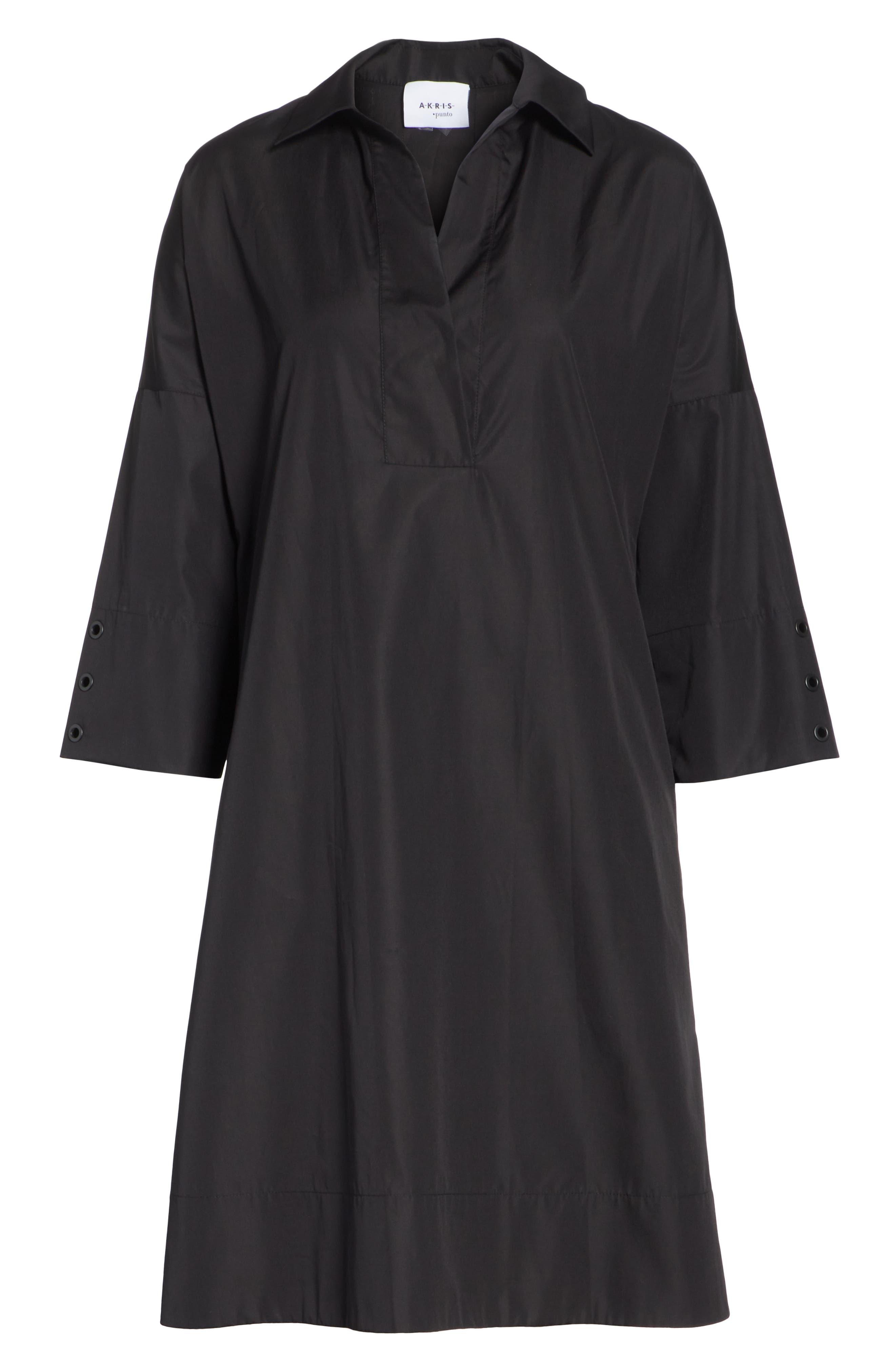 Eyelet Detail Cotton Dress,                             Alternate thumbnail 7, color,                             BLACK