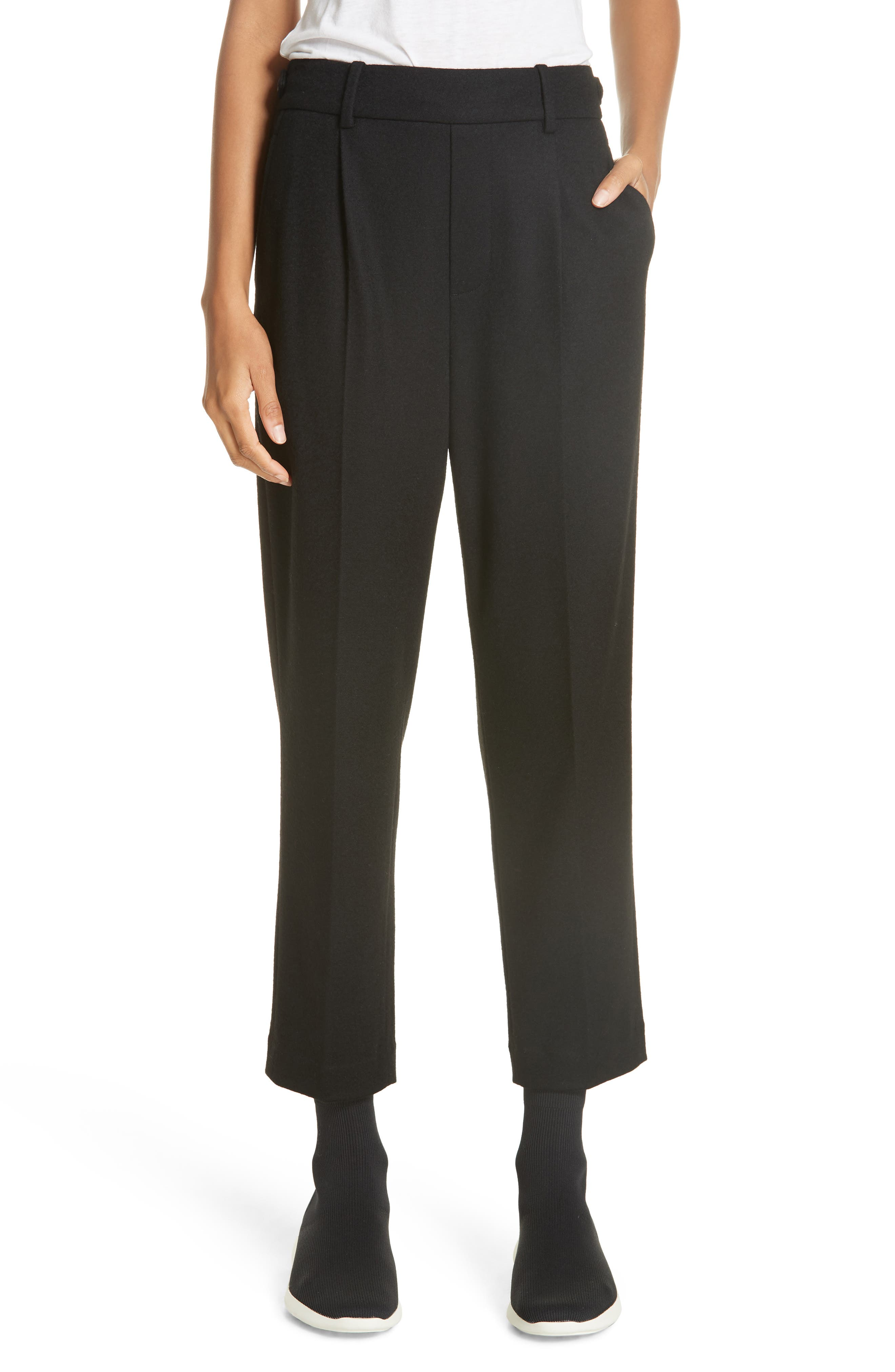 Cropped Pull-On Pants,                         Main,                         color, BLACK