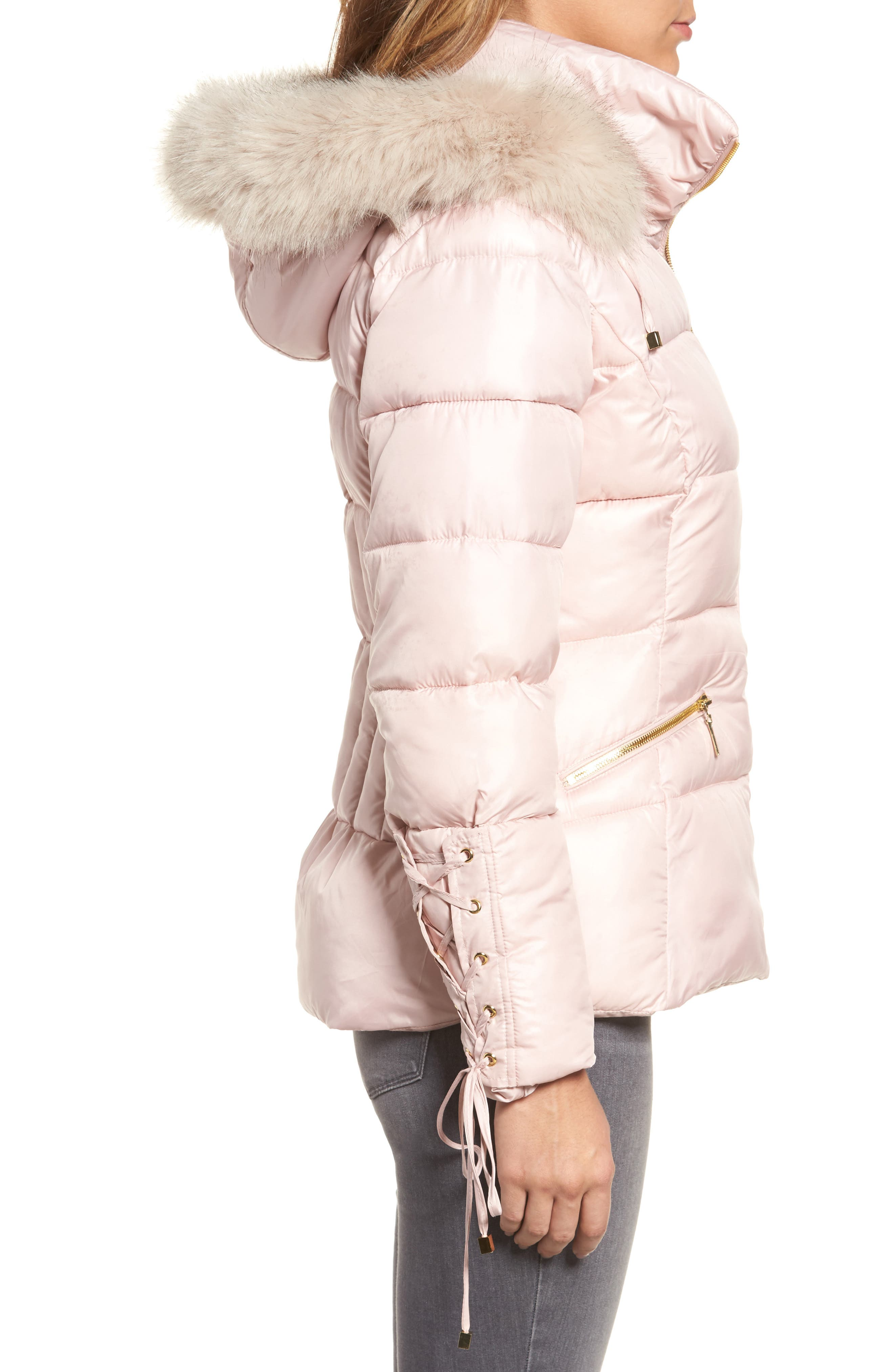 Lace Sleeve Puffer Coat with Faux Fur Trim Hood,                             Alternate thumbnail 6, color,