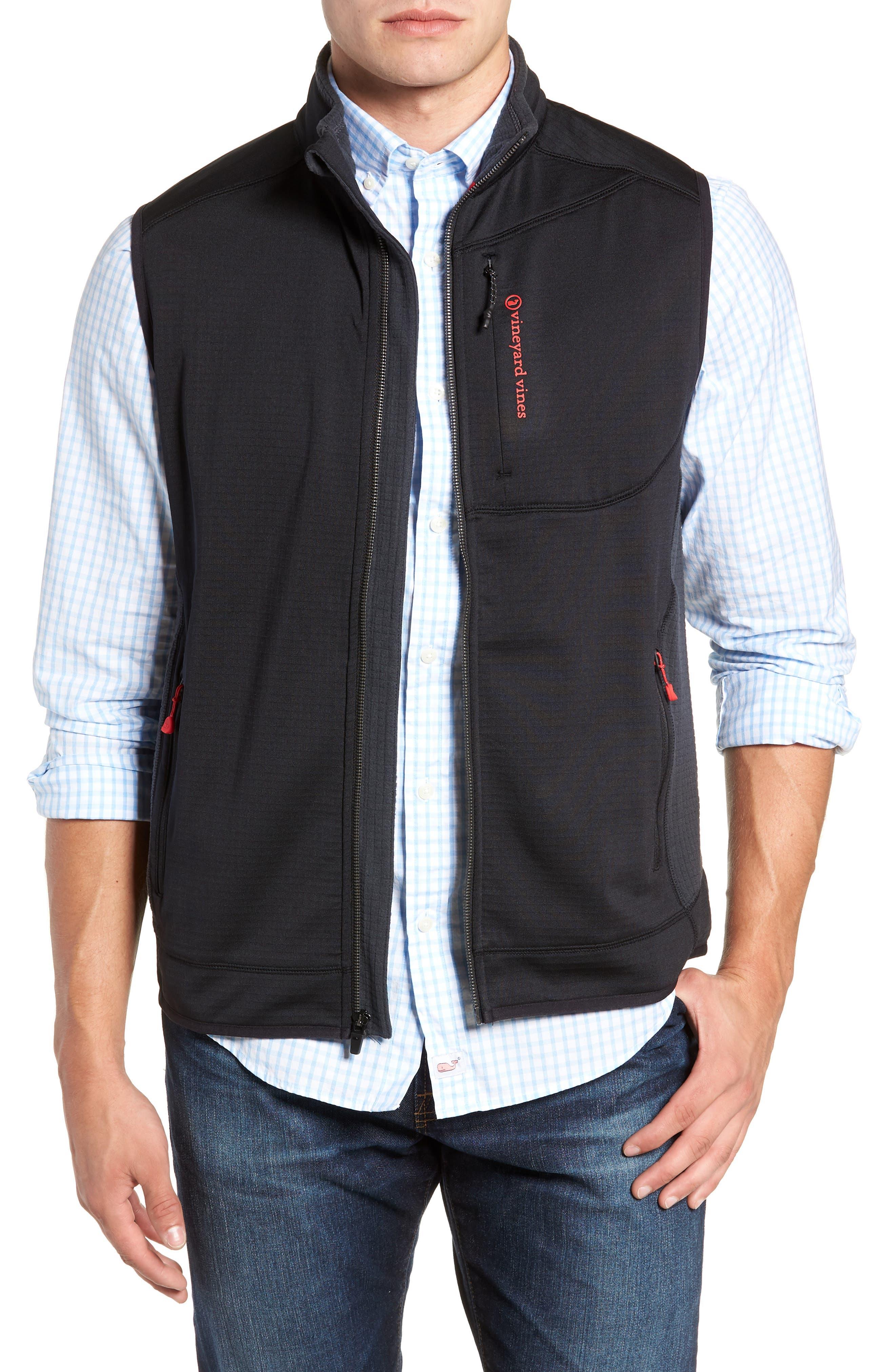 Grid Ripstop Fleece Vest,                             Main thumbnail 1, color,                             002