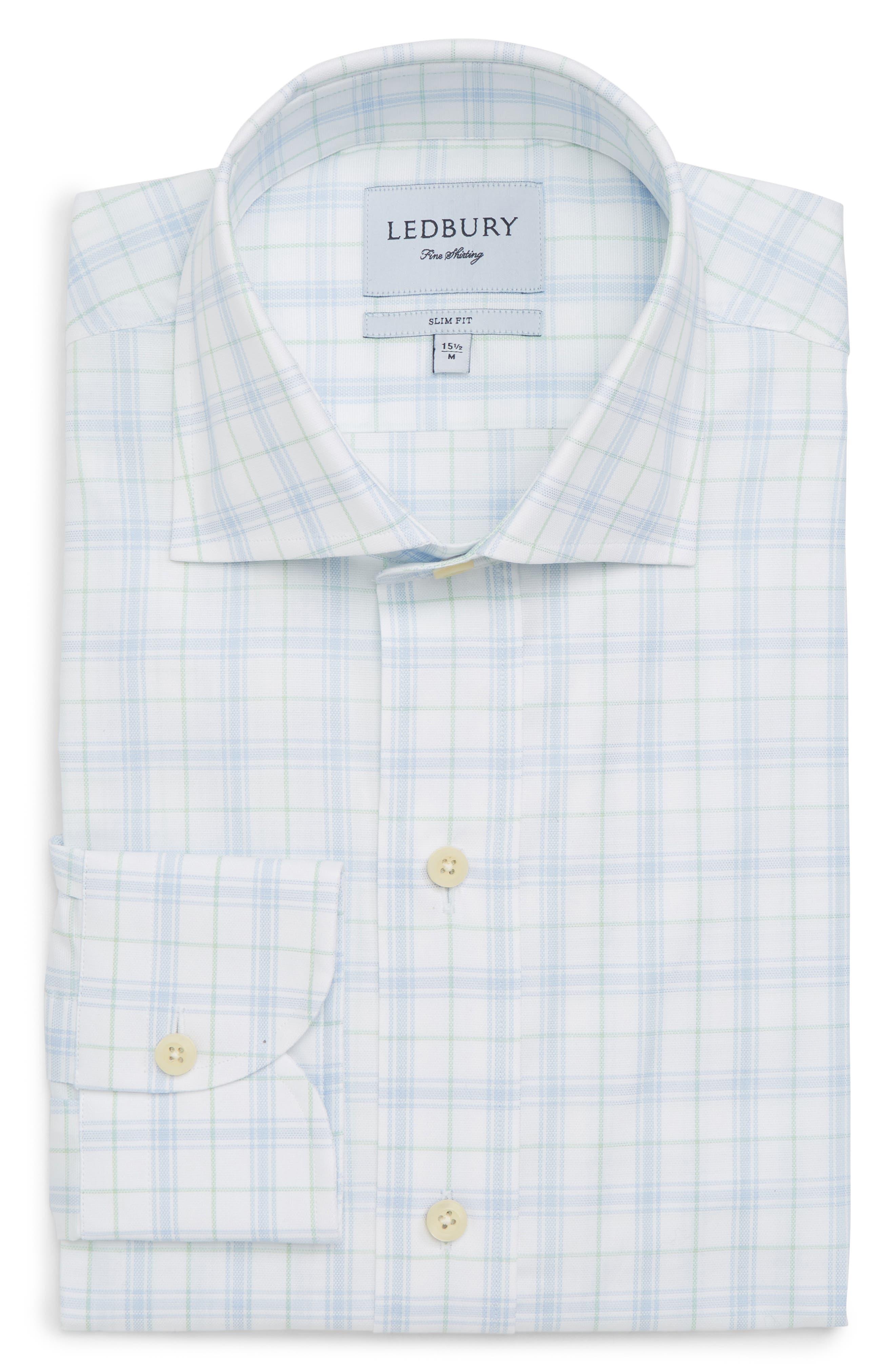 Lymann Trim Fit Plaid Dress Shirt,                             Alternate thumbnail 5, color,                             410