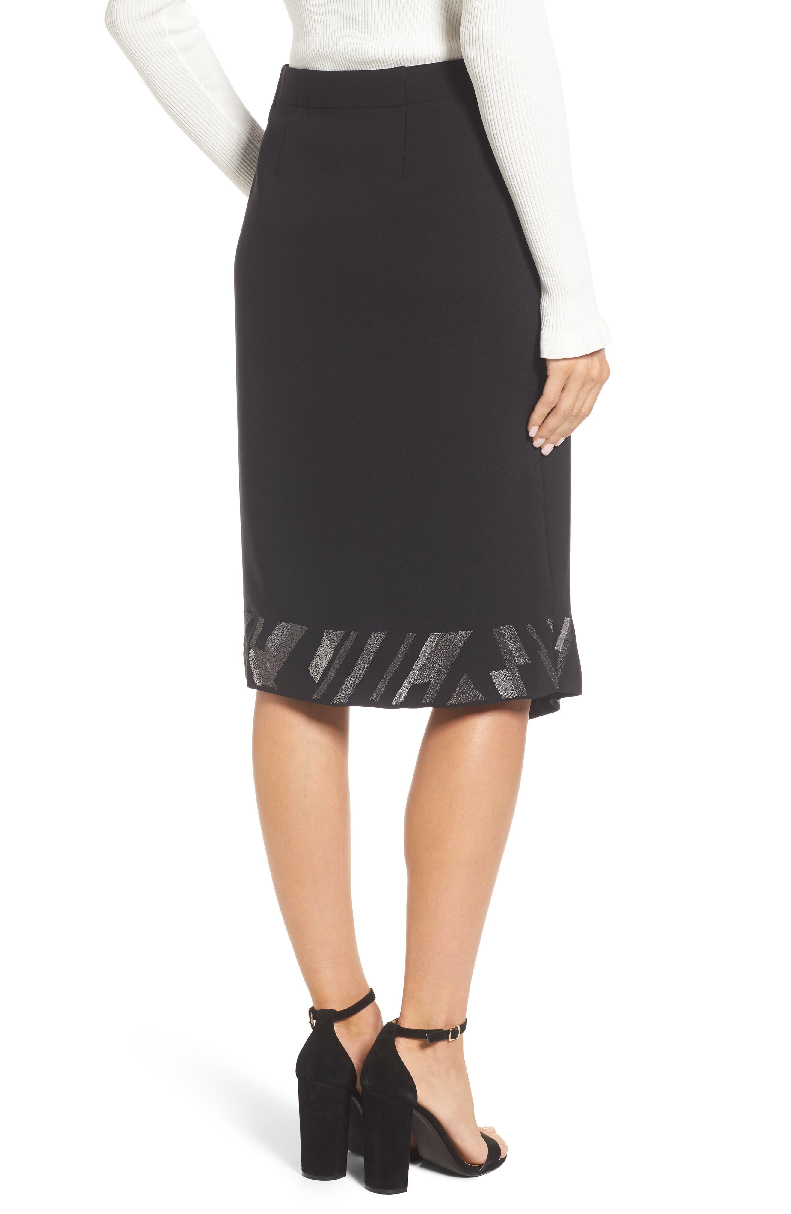 Trimmed Time Faux Wrap Skirt,                             Alternate thumbnail 2, color,                             009