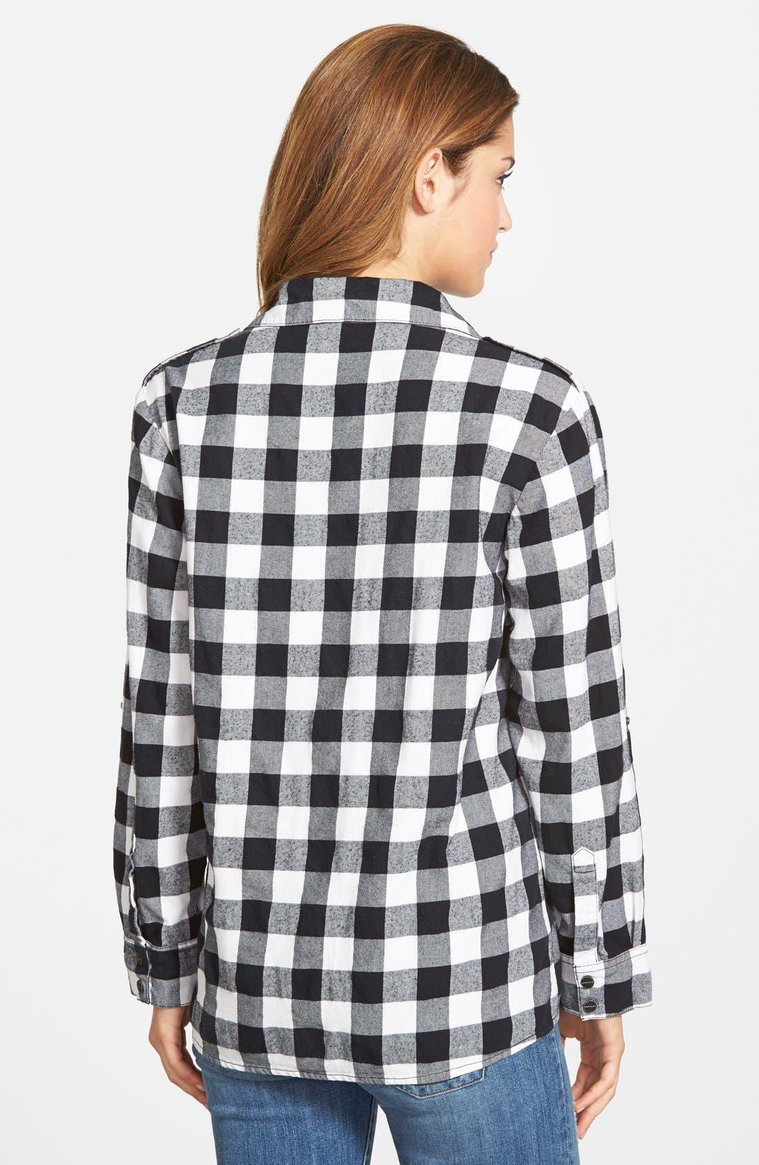 Plaid Boyfriend Shirt,                             Alternate thumbnail 3, color,                             001