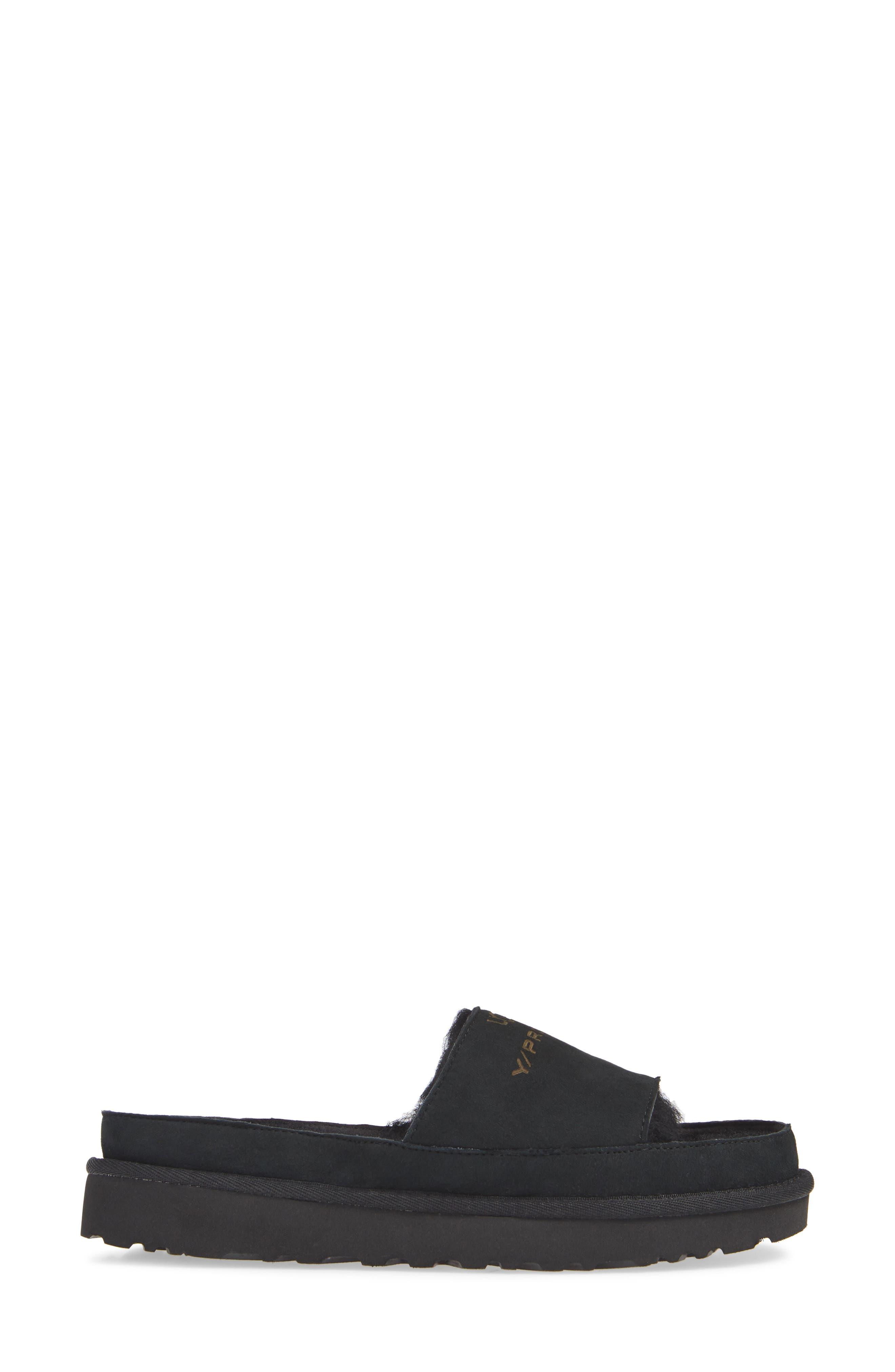 x UGG<sup>®</sup> Genuine Shearling Slide Sandal,                             Alternate thumbnail 3, color,                             001