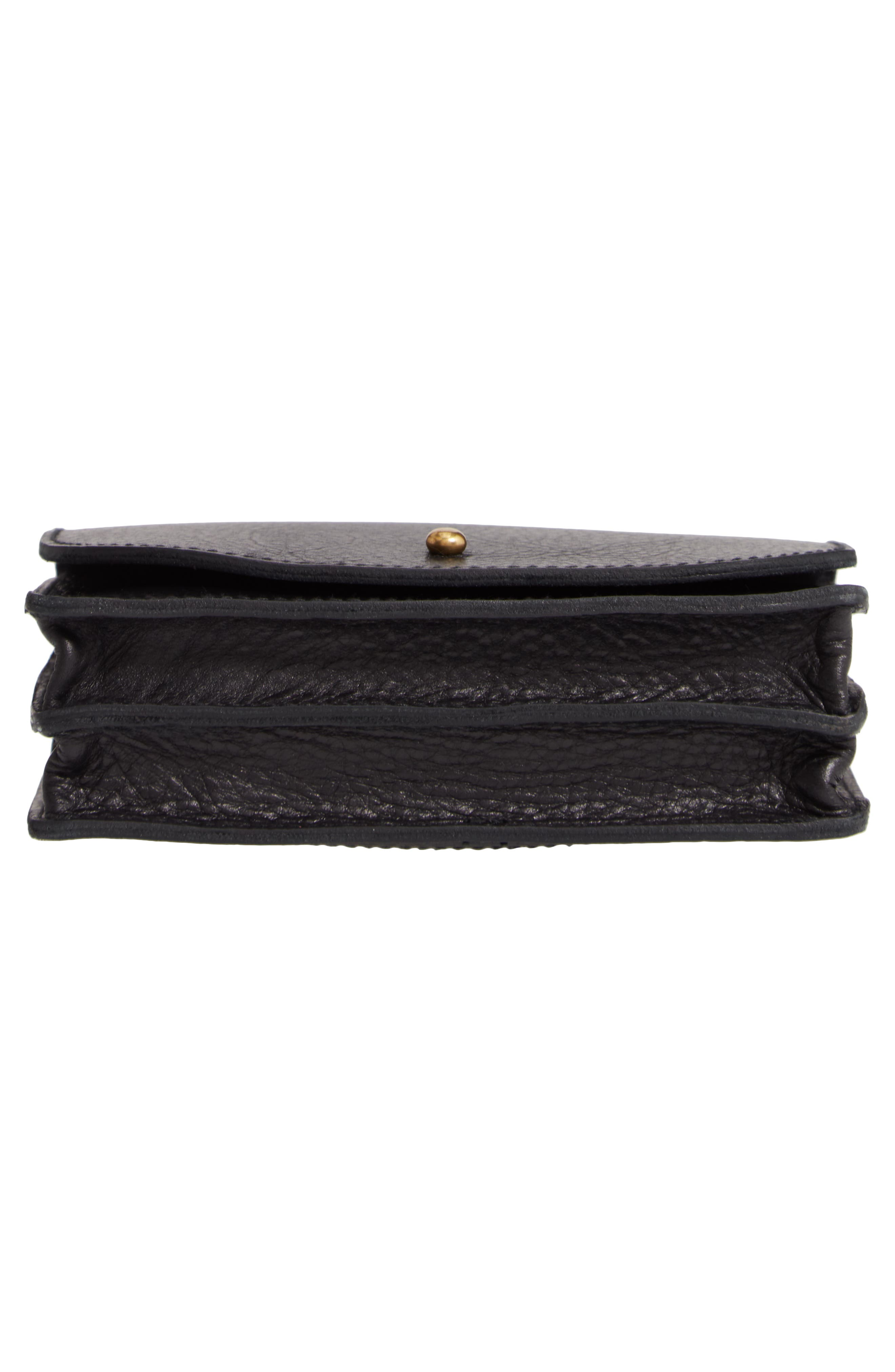 Leather Crossbody Wallet,                             Alternate thumbnail 6, color,                             TRUE BLACK