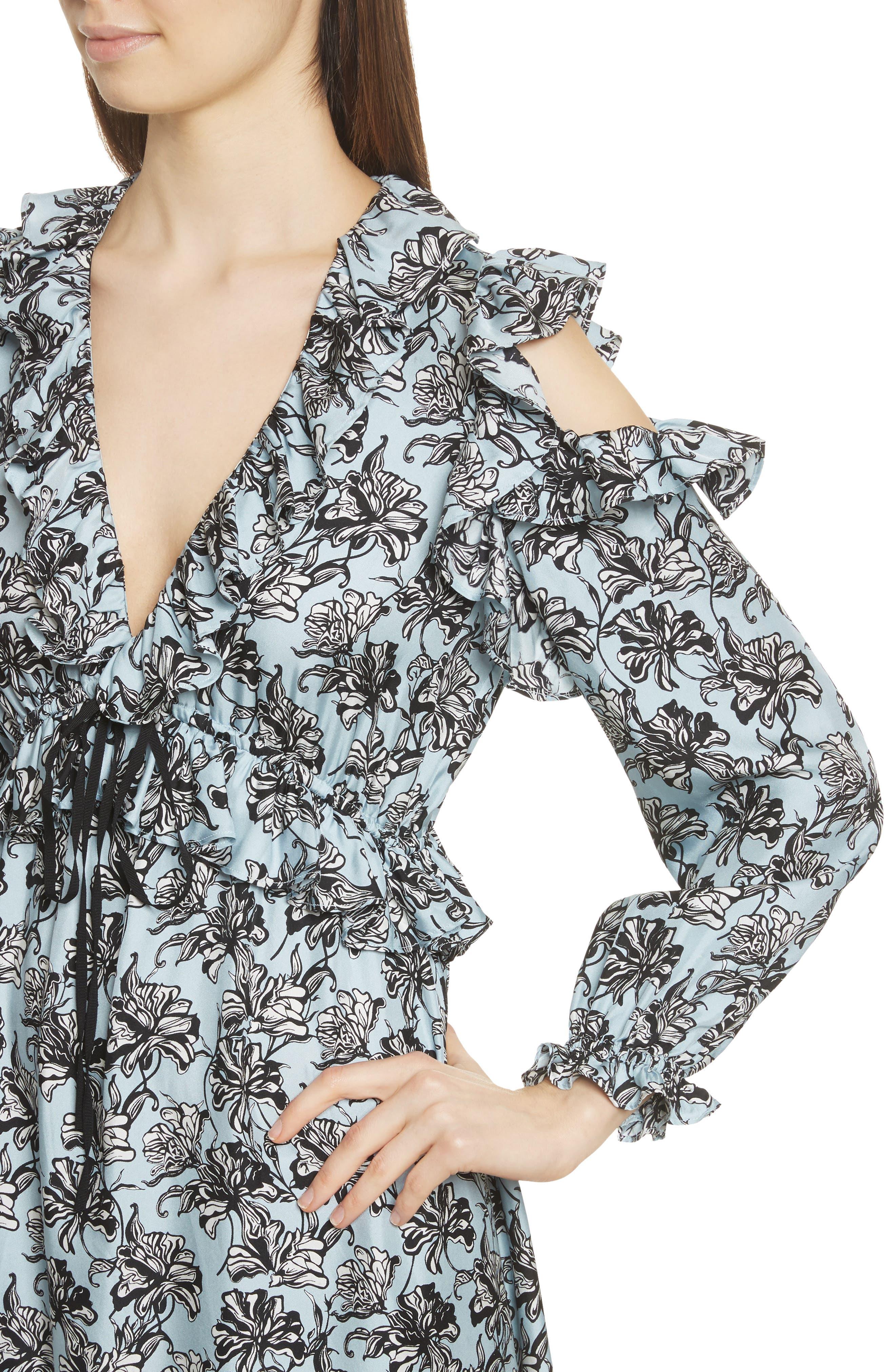 Ruffle Trim Cold Shoulder Silk Dress,                             Alternate thumbnail 4, color,                             420