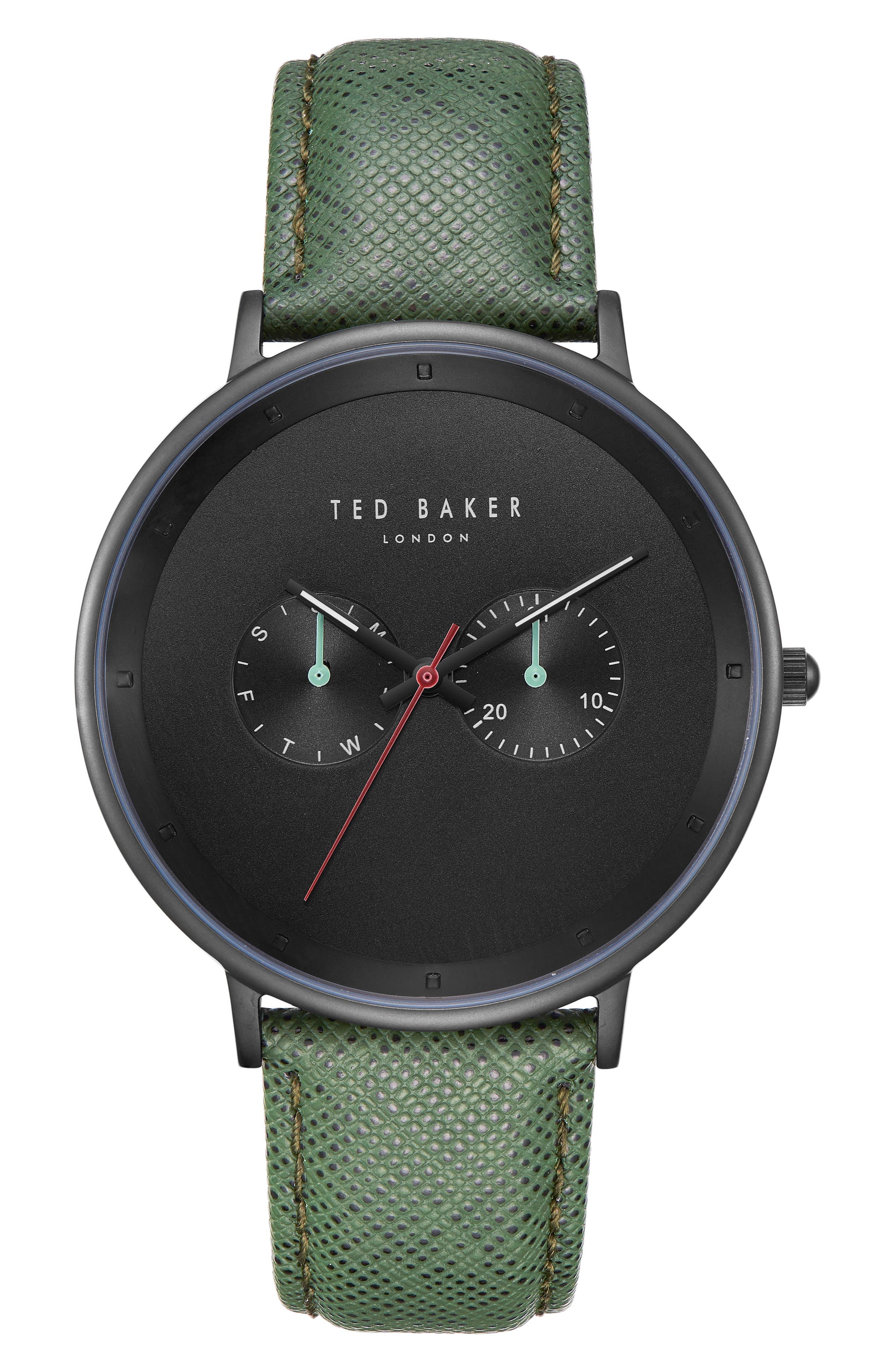 Brad Multifunction Leather Strap Watch, 42mm,                         Main,                         color, BLACK/ DARK GREEN