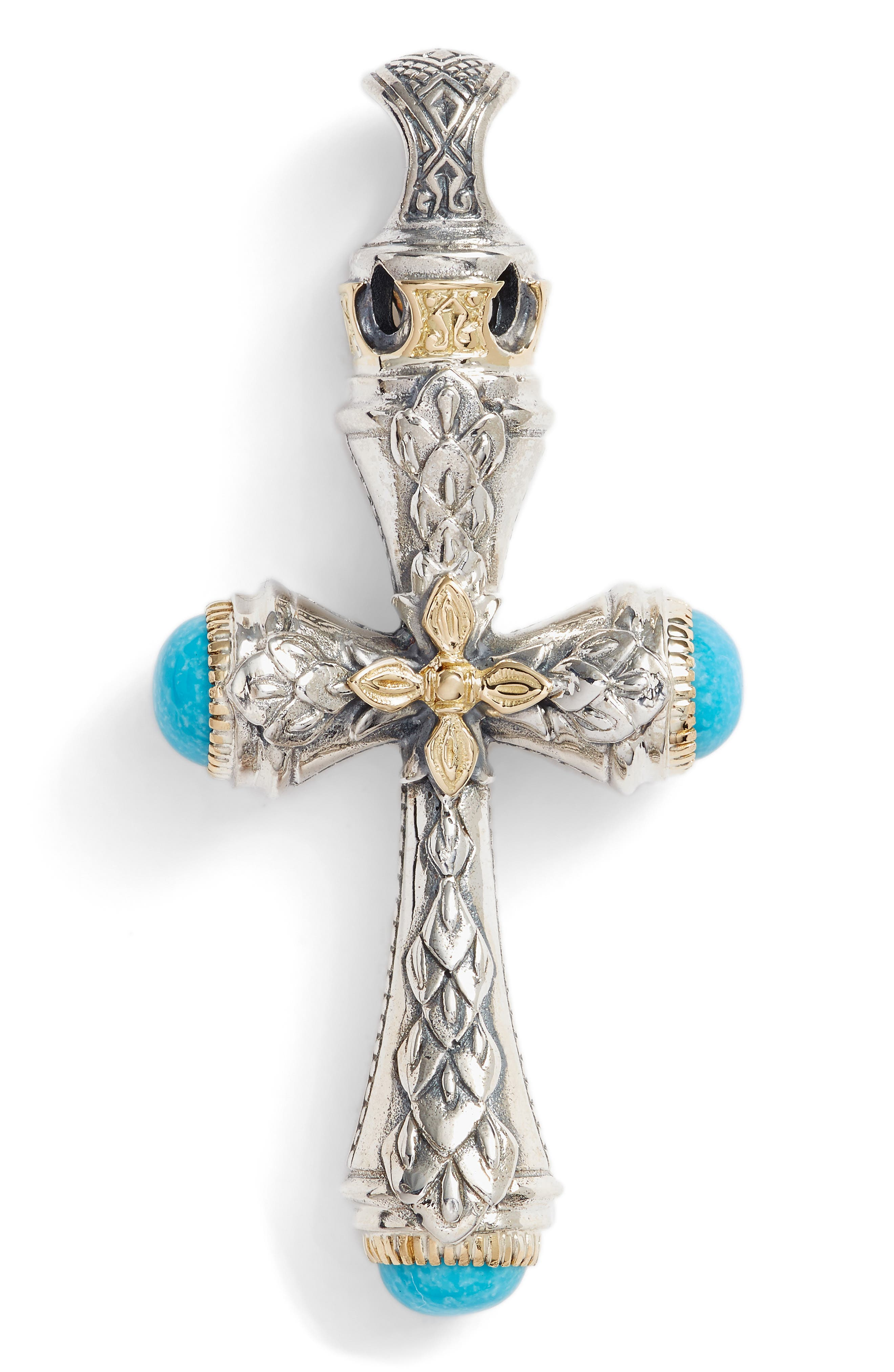 Heonos Turquoise Cross,                             Main thumbnail 1, color,                             SILVER/ GOLD/ TURQUOISE