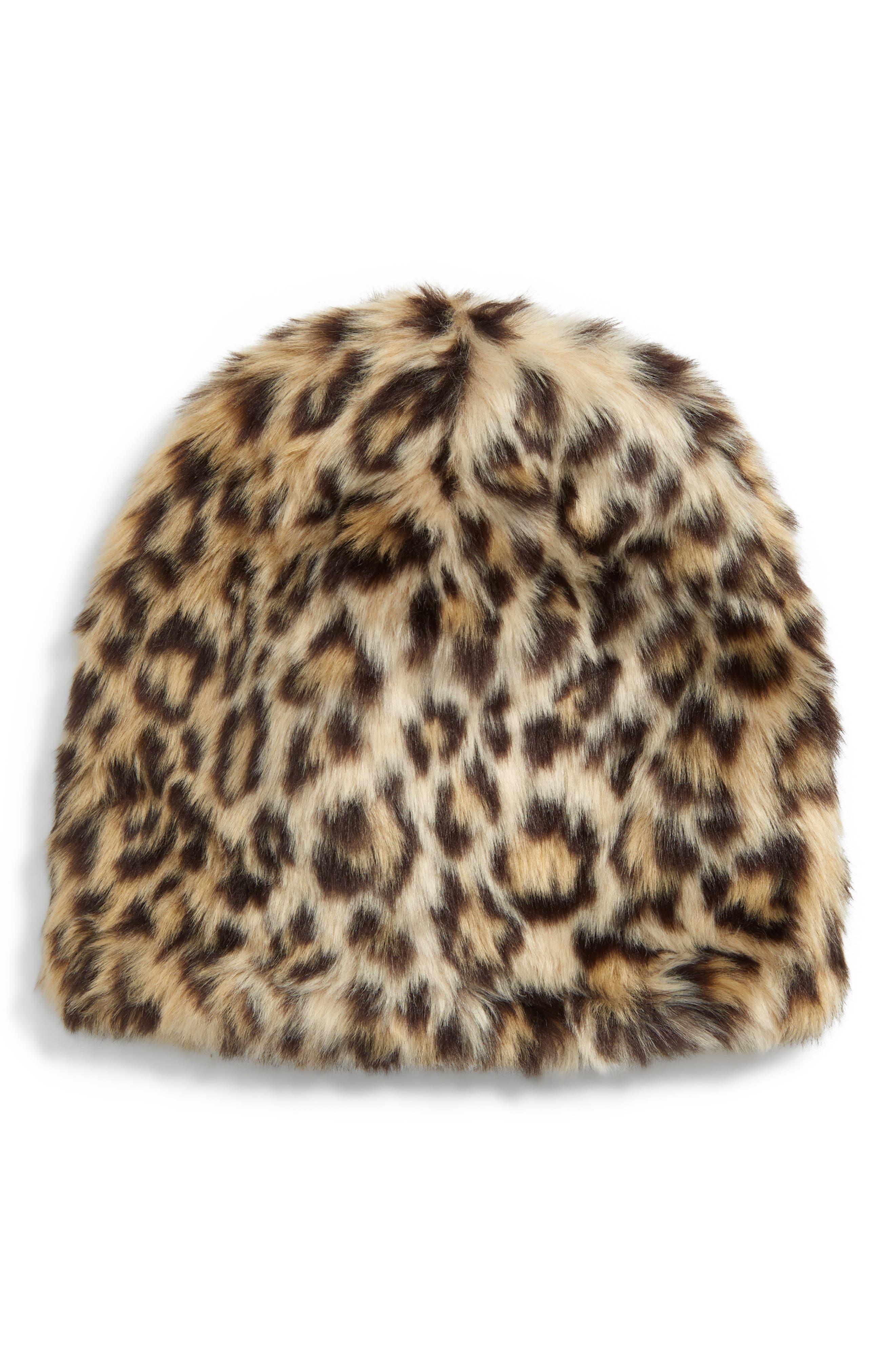 Girls Crewcuts By Jcrew Leopard Faux Fur Hat Size LargeXLarge  None