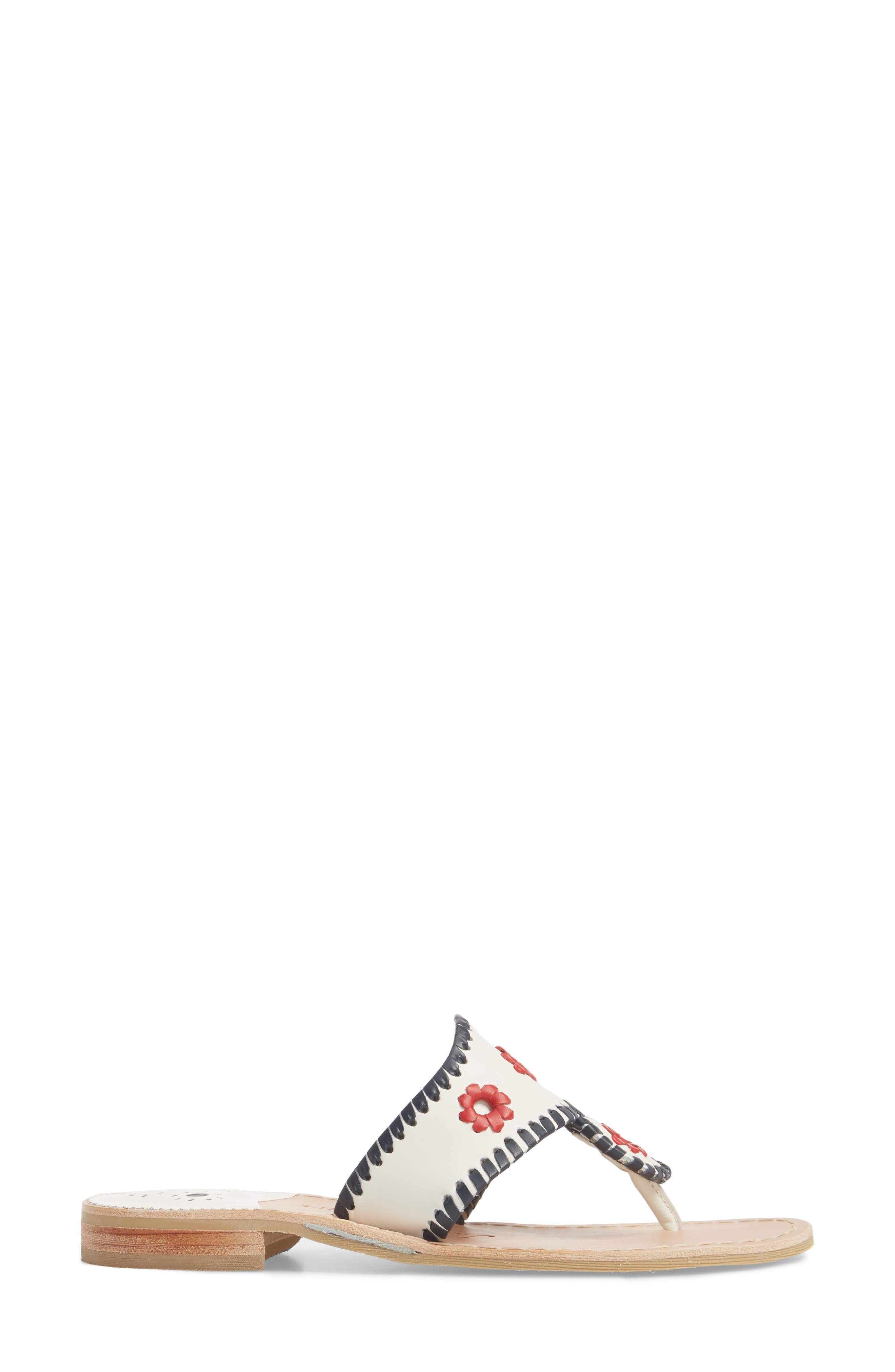 Patriotic Jack Sandal,                             Alternate thumbnail 3, color,                             WHITE/ NAVY/ RED LEATHER