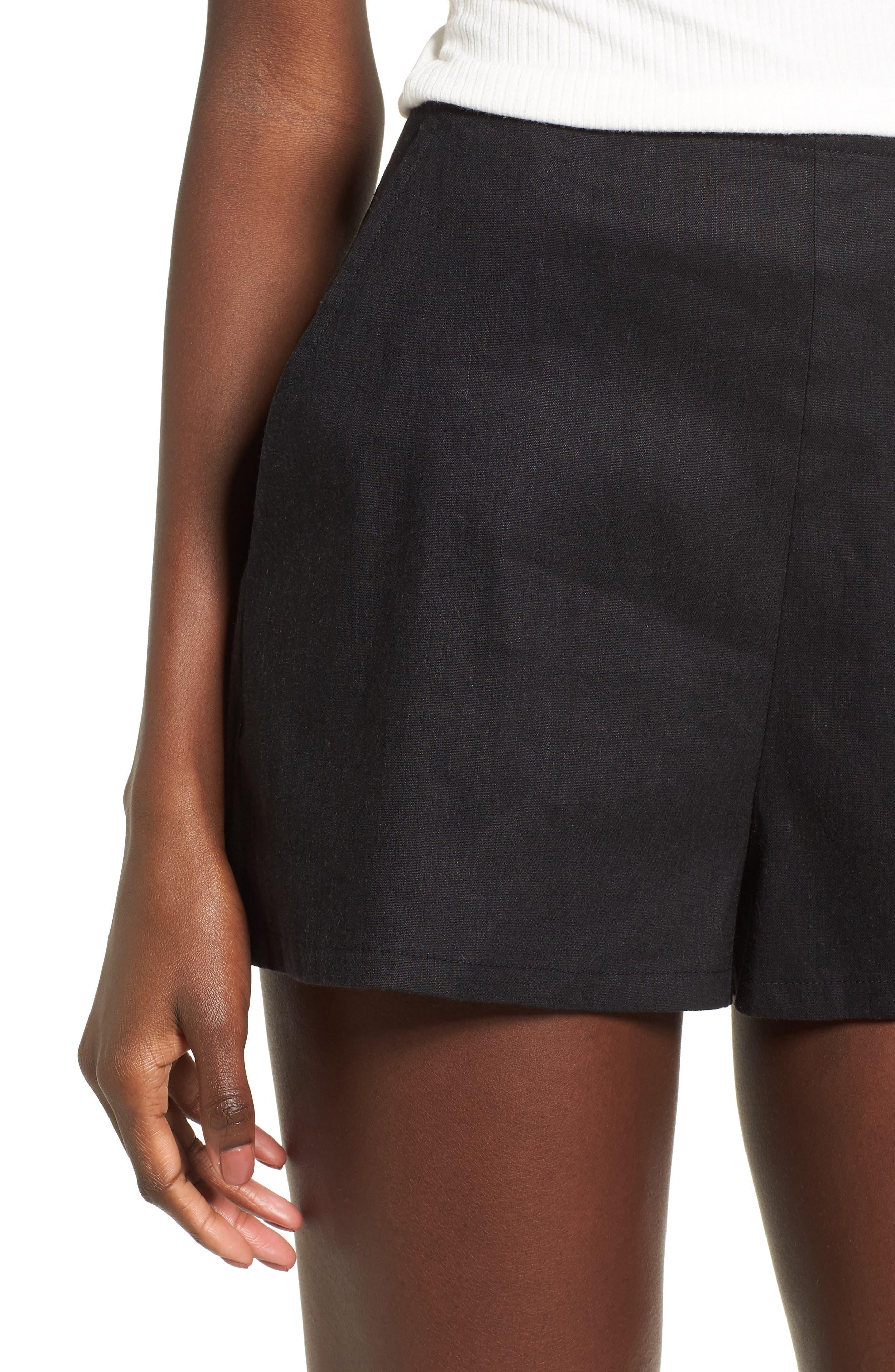 High Waist Linen Blend Shorts,                             Alternate thumbnail 4, color,                             001