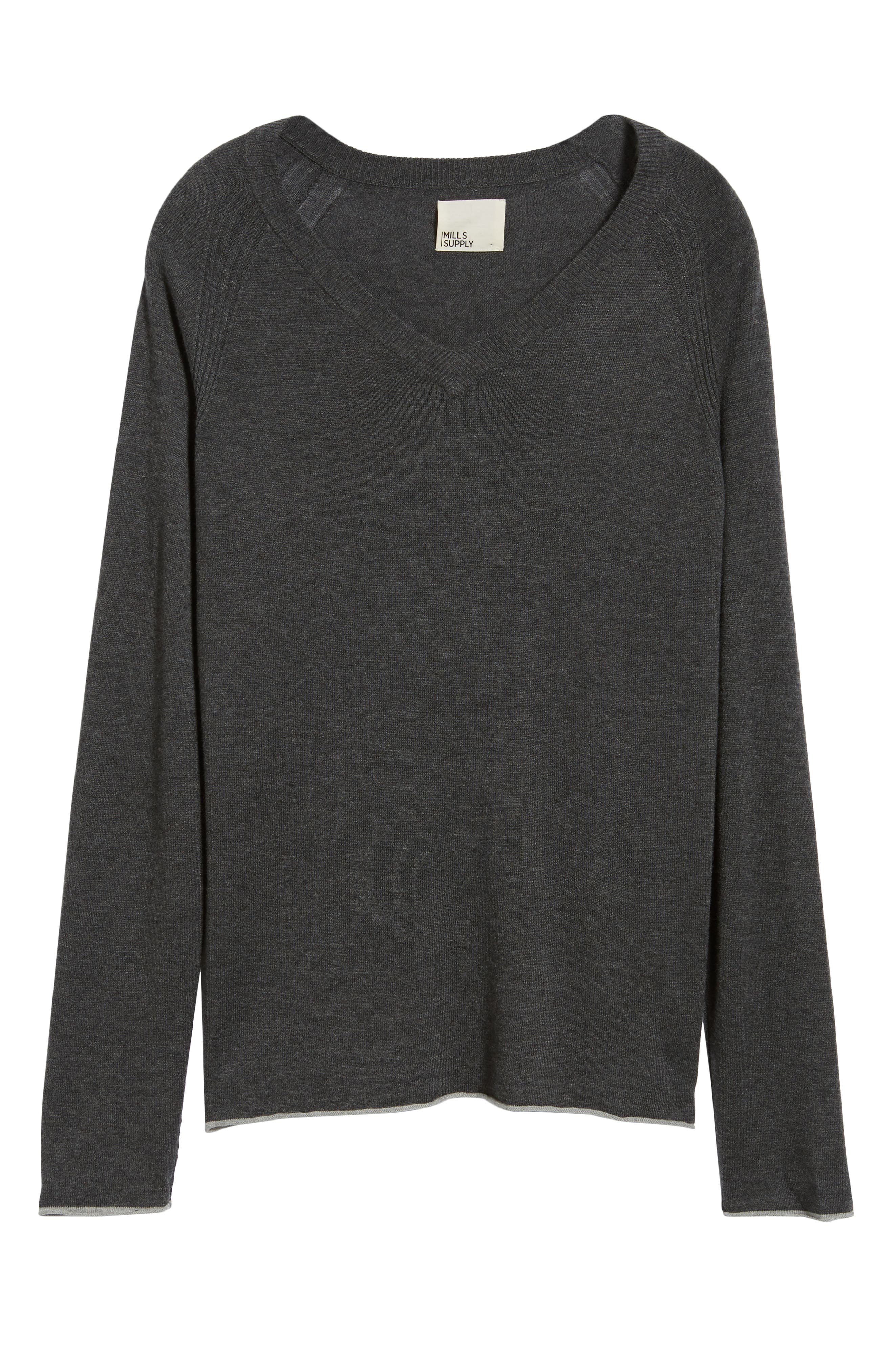 Salinas Cash V-Neck Sweater,                             Alternate thumbnail 6, color,                             CHARCOAL HEATHER