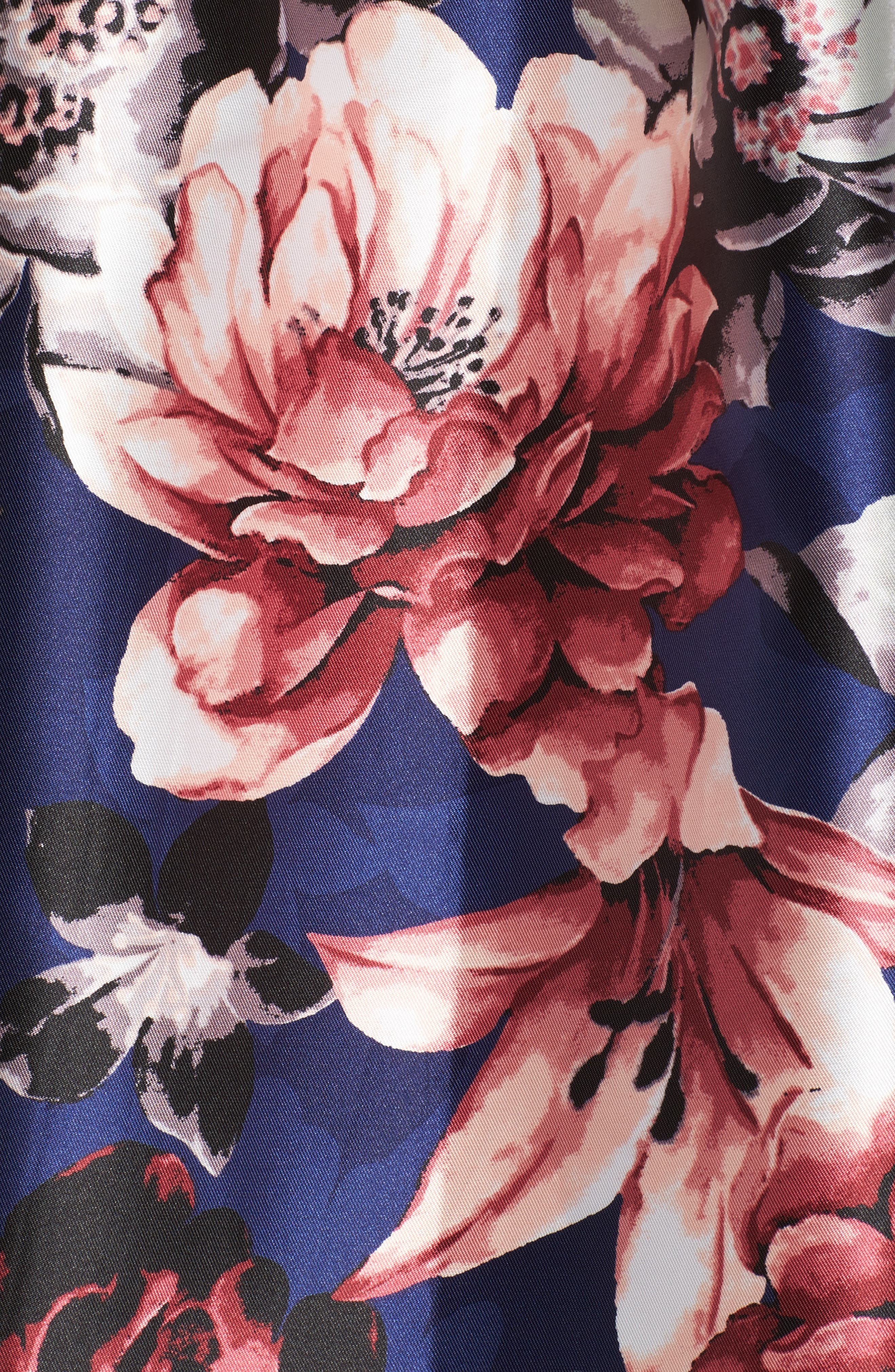 Illusion Neck Floral Fit & Flare Dress,                             Alternate thumbnail 5, color,