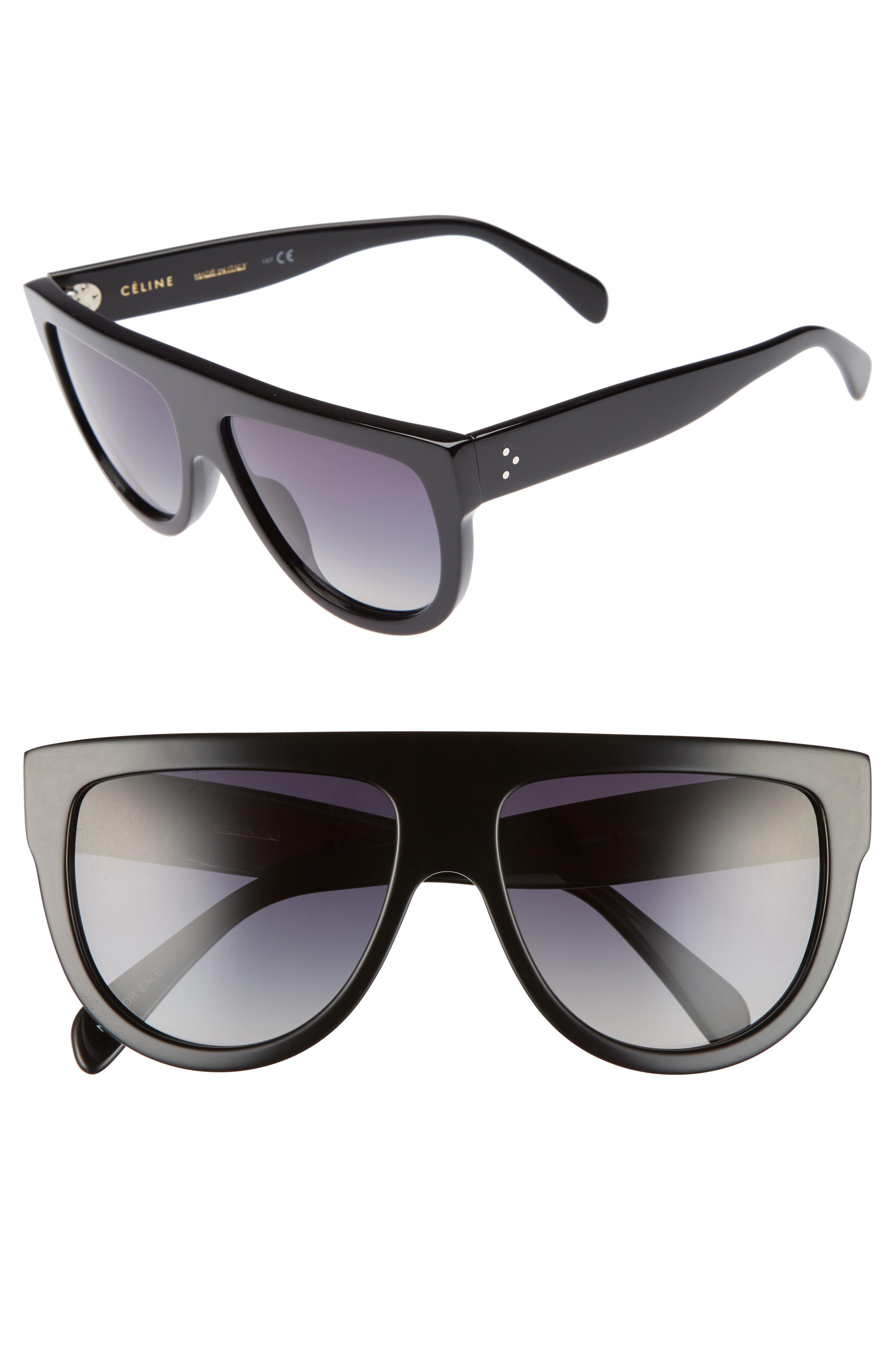 58mm Pilot Sunglasses,                         Main,                         color, BLACK/ SMOKE
