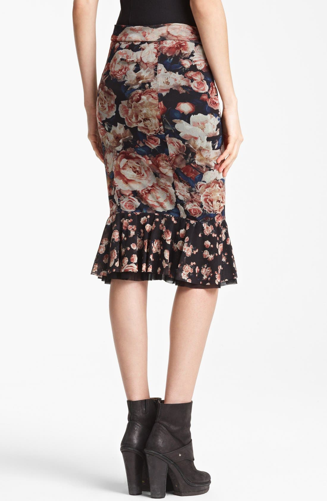 Jean Paul Gaultier Fuzzi Flare Hem Skirt,                             Alternate thumbnail 2, color,                             001