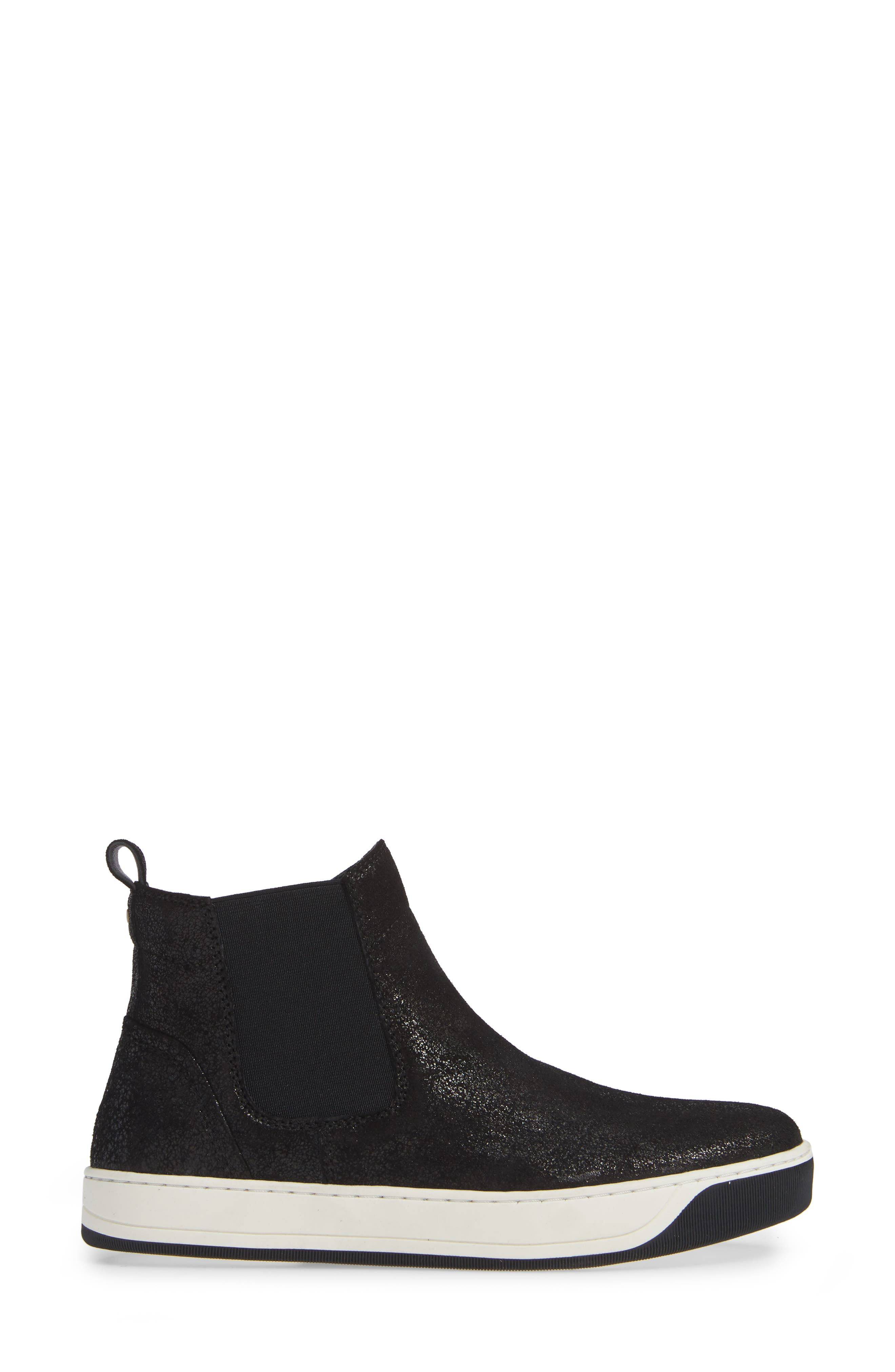 Erica High Top Sneaker,                             Alternate thumbnail 3, color,                             BLACK LEATHER