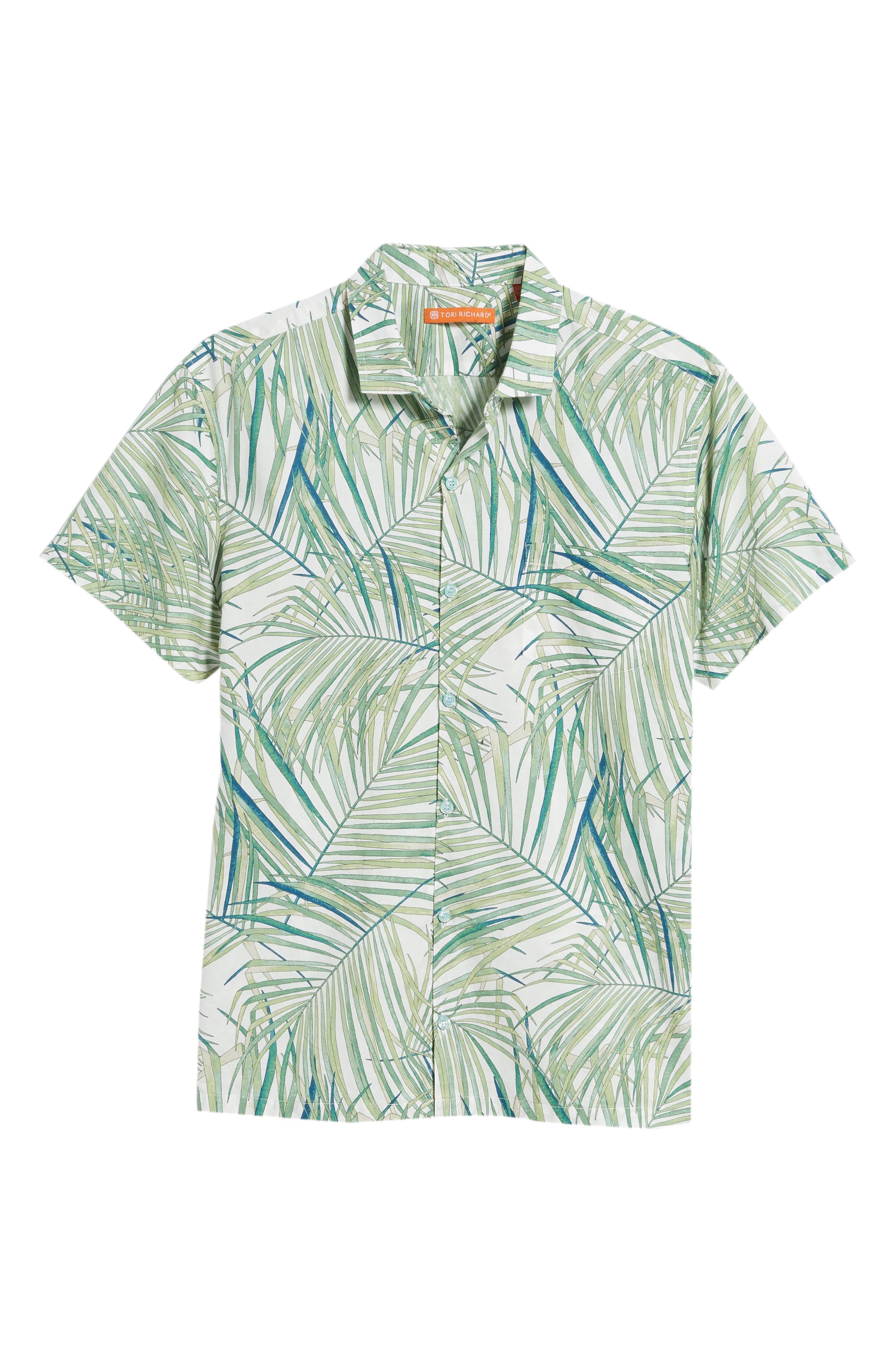 Kentia Trim Fit Palm Print Sport Shirt,                             Alternate thumbnail 6, color,                             100