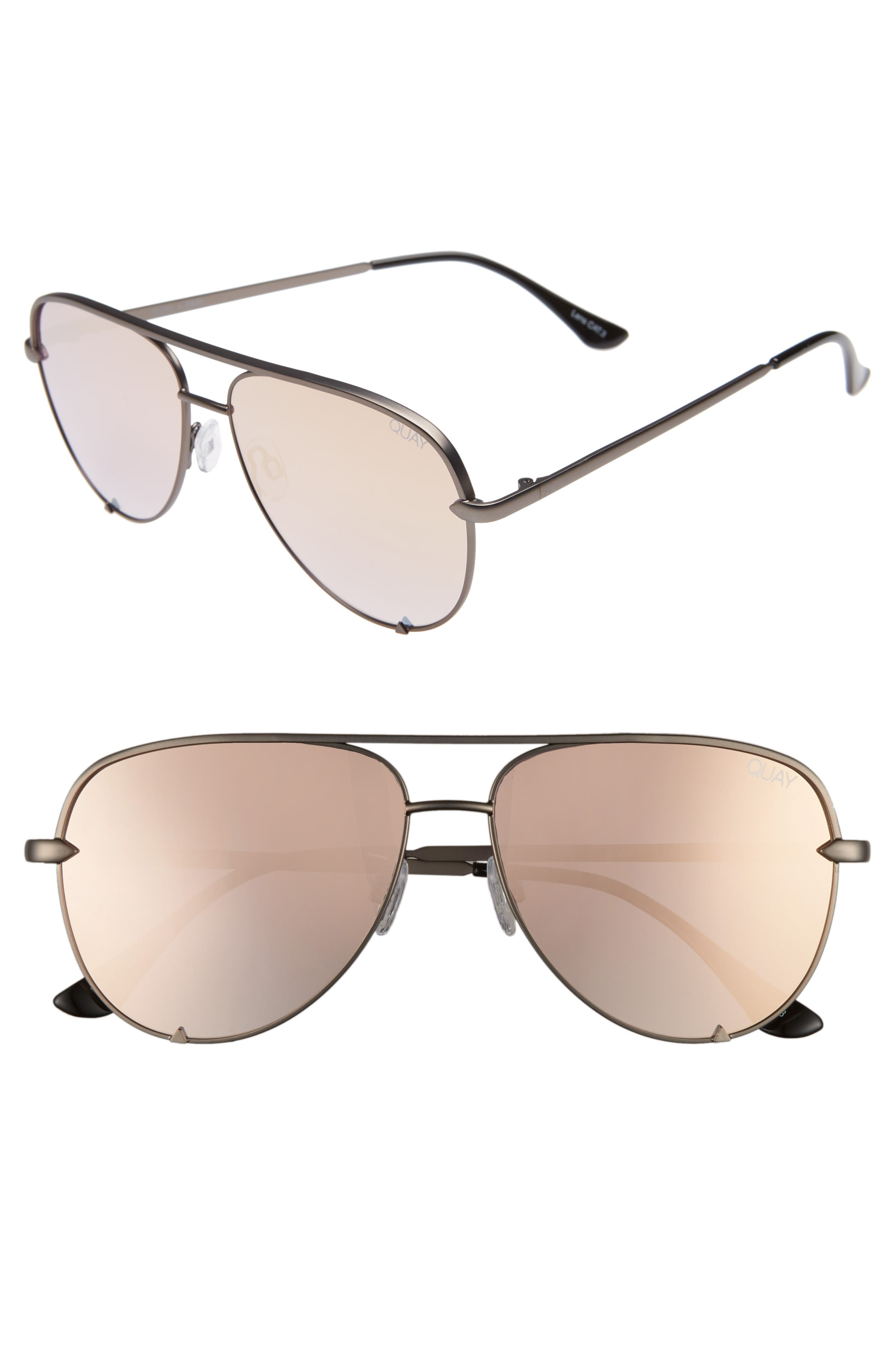 x Desi Perkins High Key Mini 57mm Aviator Sunglasses,                             Main thumbnail 1, color,                             GUNMETAL/ ROSE