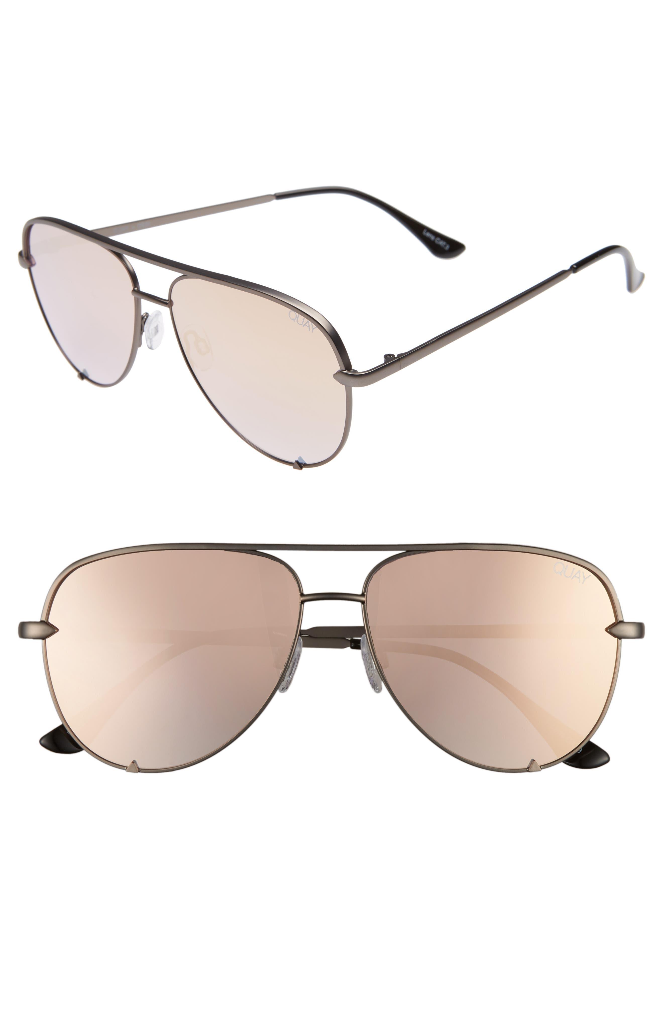x Desi Perkins High Key Mini 57mm Aviator Sunglasses,                         Main,                         color, GUNMETAL/ ROSE