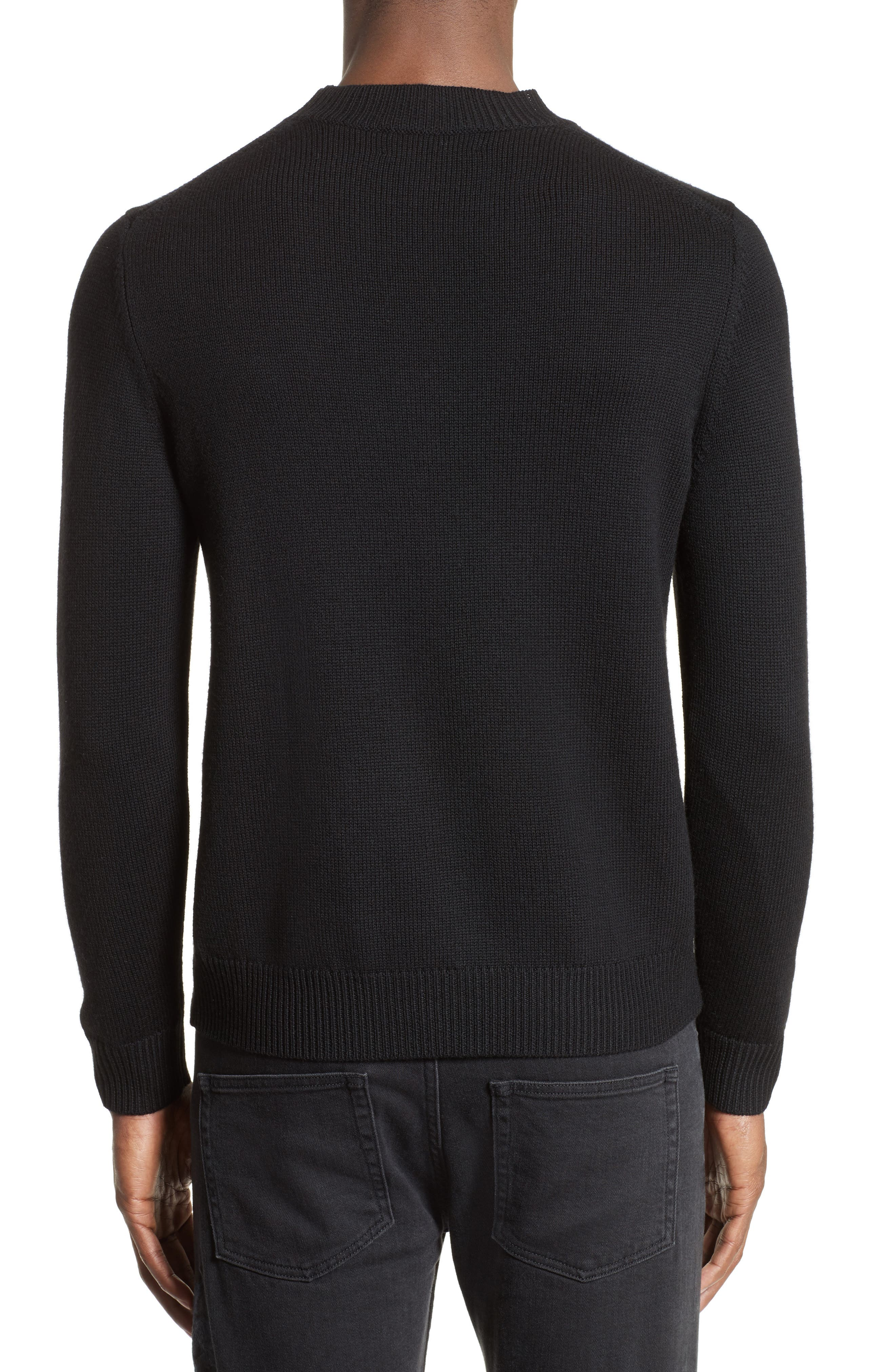 Embroidered Skull Wool Blend Sweater,                             Alternate thumbnail 2, color,                             001