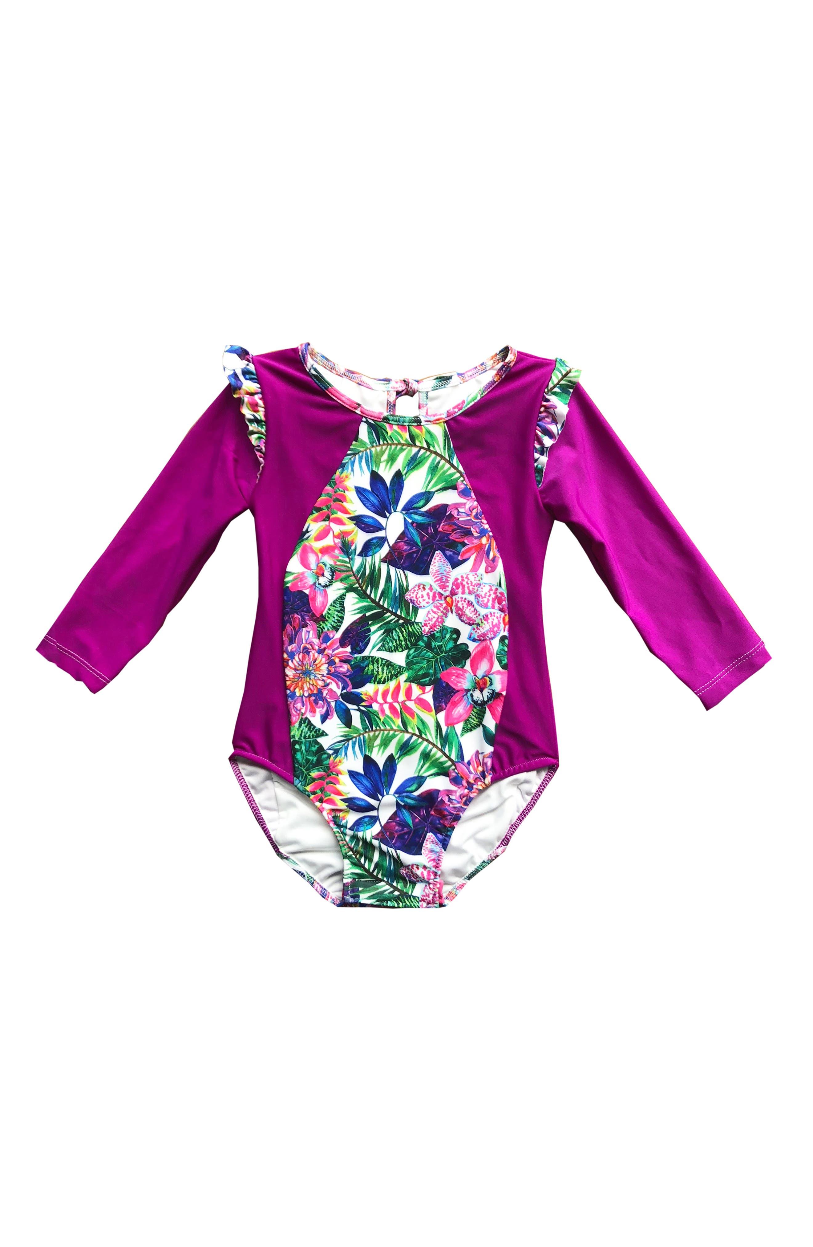 One-Piece Rashguard Swimsuit,                         Main,                         color, SAFARI
