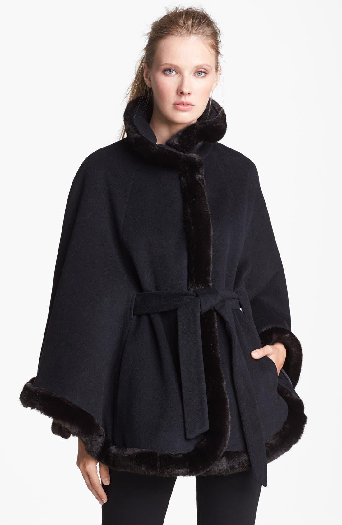 Faux Fur Trim Belted Cape,                             Main thumbnail 1, color,                             001