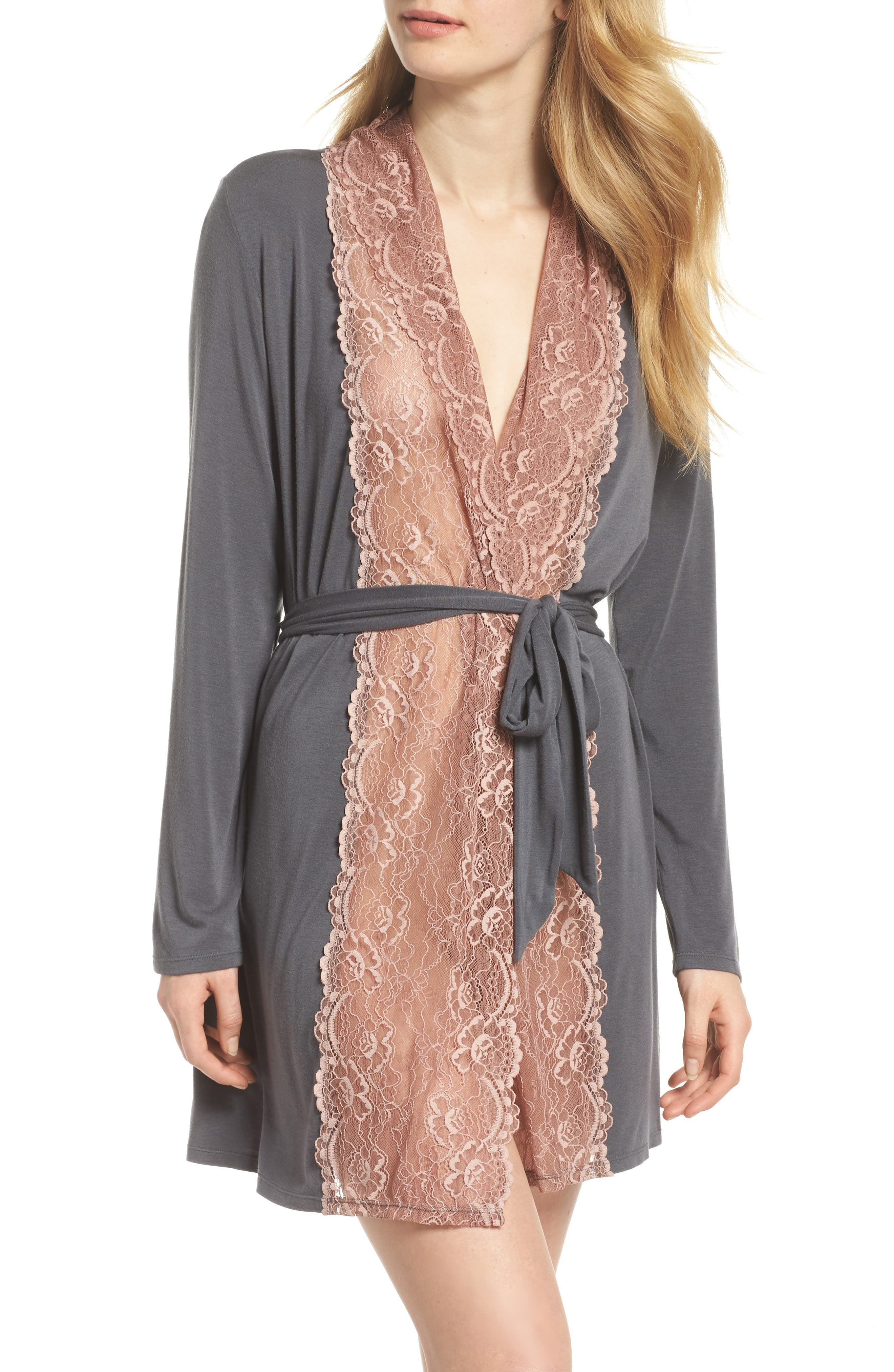 Lace Trim Robe,                         Main,                         color, SLATE WITH JAVA LACE