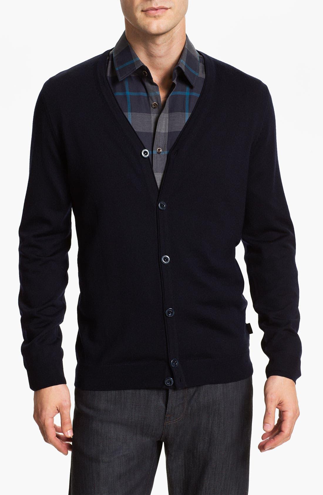 Black 'Baltimore' Wool Button Cardigan,                             Main thumbnail 1, color,                             001