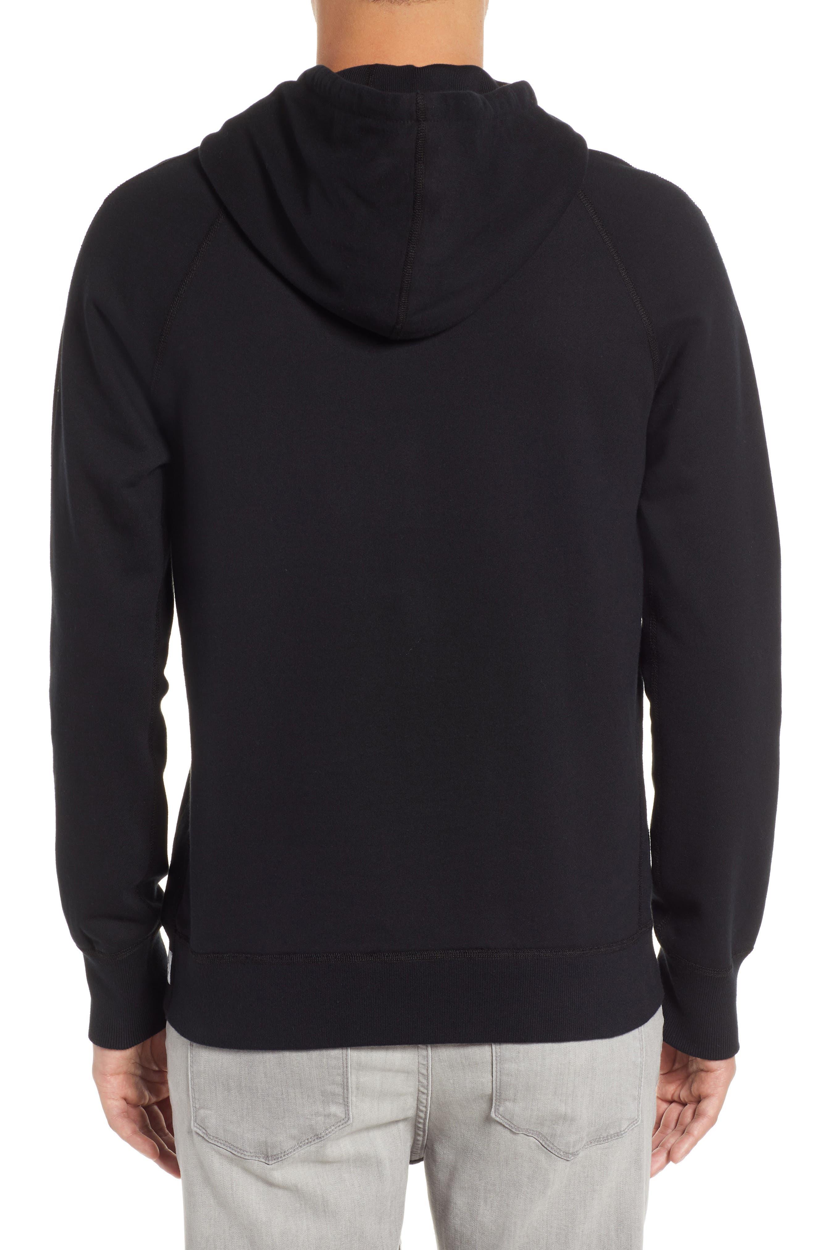Gym Logo Hooded Sweatshirt,                             Alternate thumbnail 2, color,                             BLACK/ WHITE