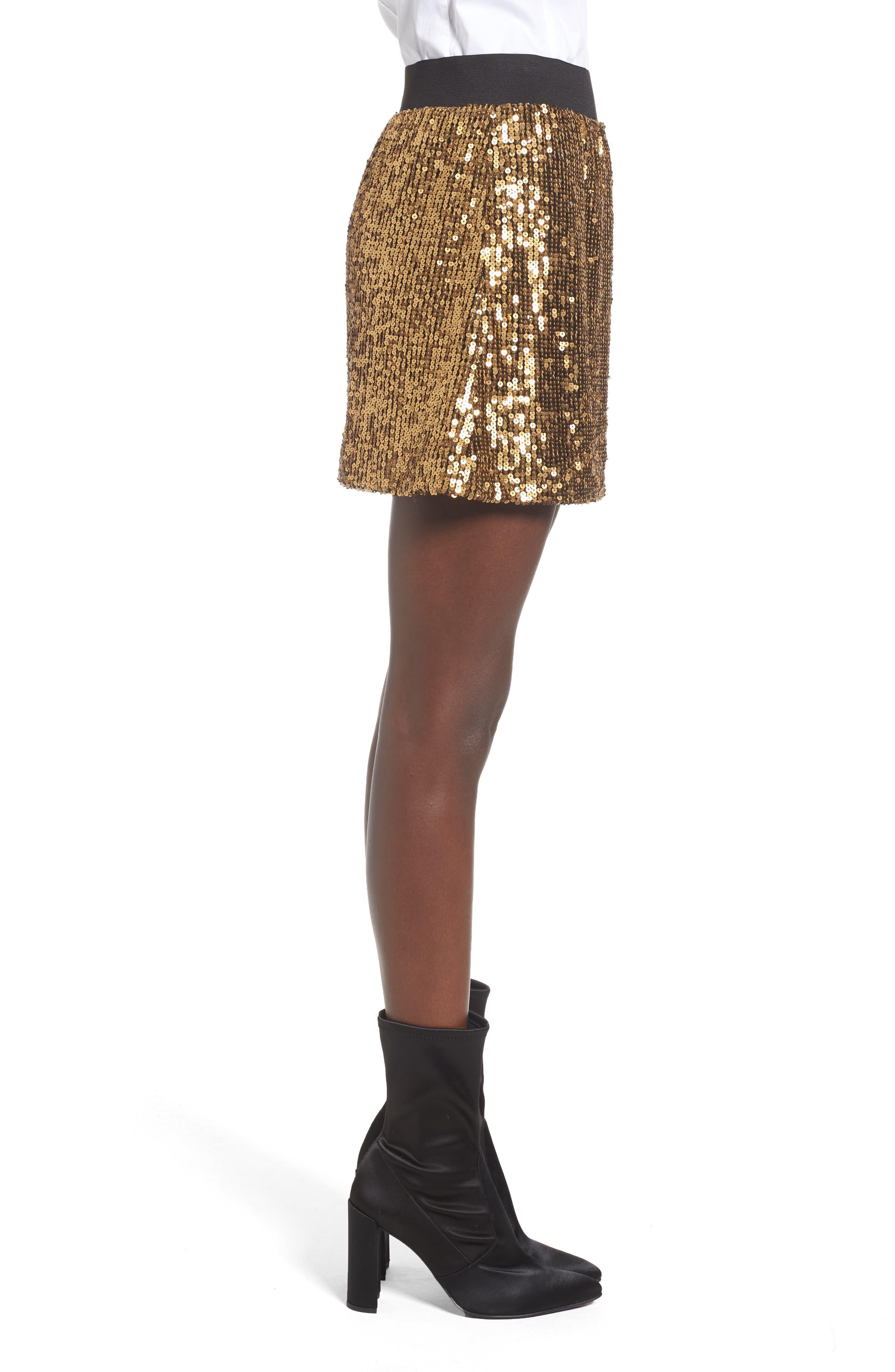 Sequin Miniskirt,                             Alternate thumbnail 3, color,                             710