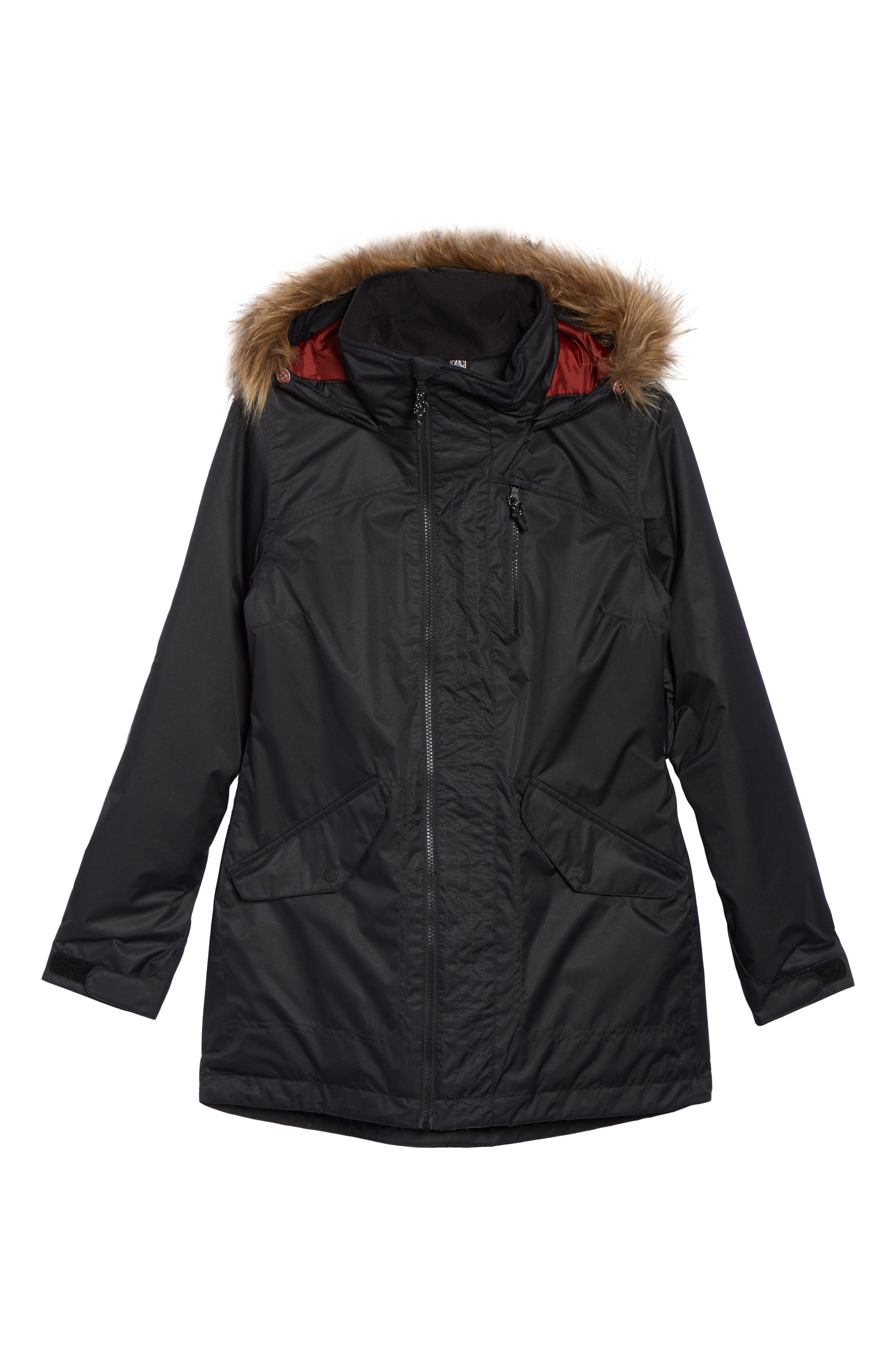 Hazel Waterproof Hooded Jacket with Removable Faux Fur Trim,                             Alternate thumbnail 5, color,                             001
