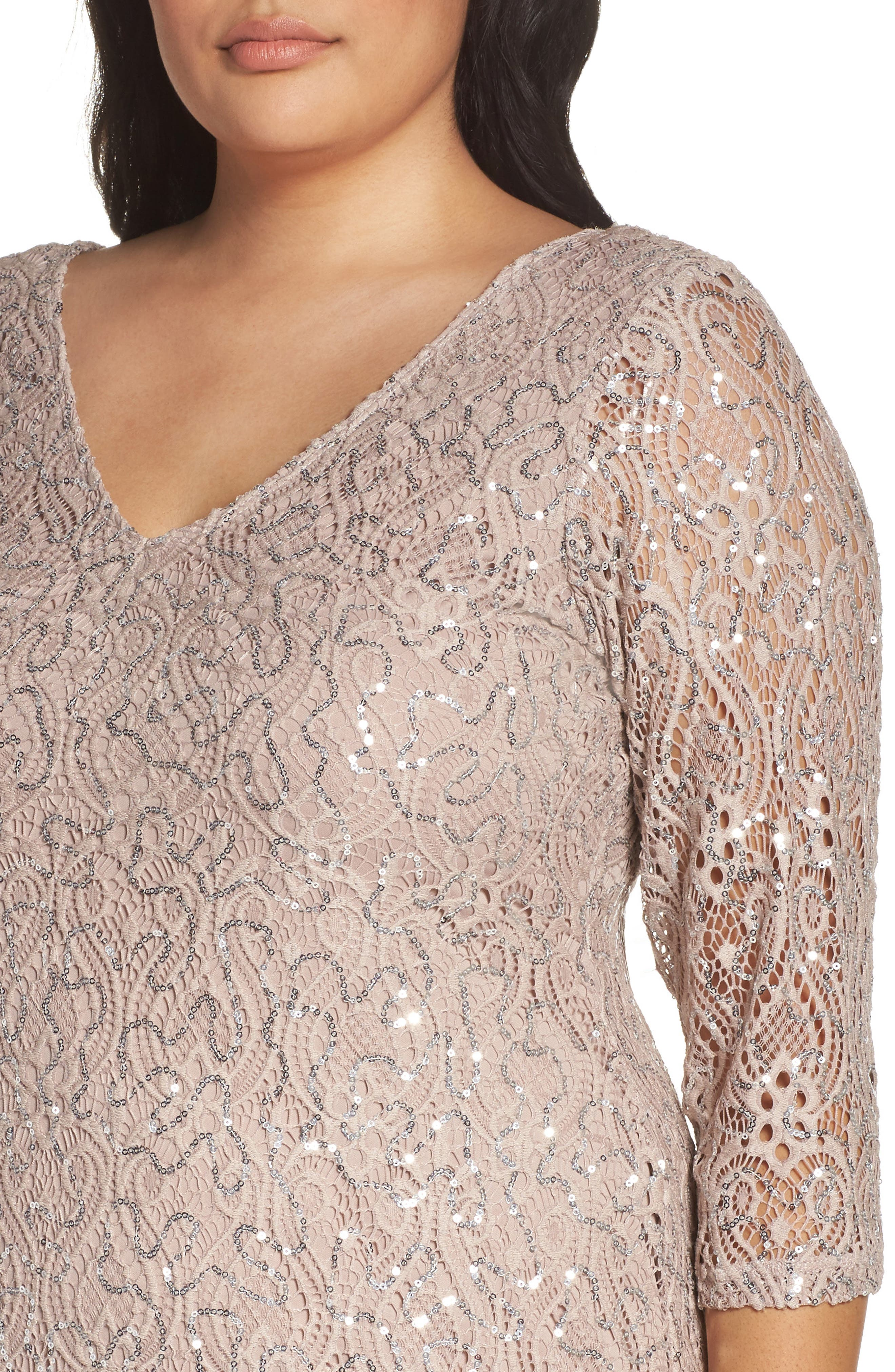 Sequin Lace A-Line Gown,                             Alternate thumbnail 4, color,                             TAUPE