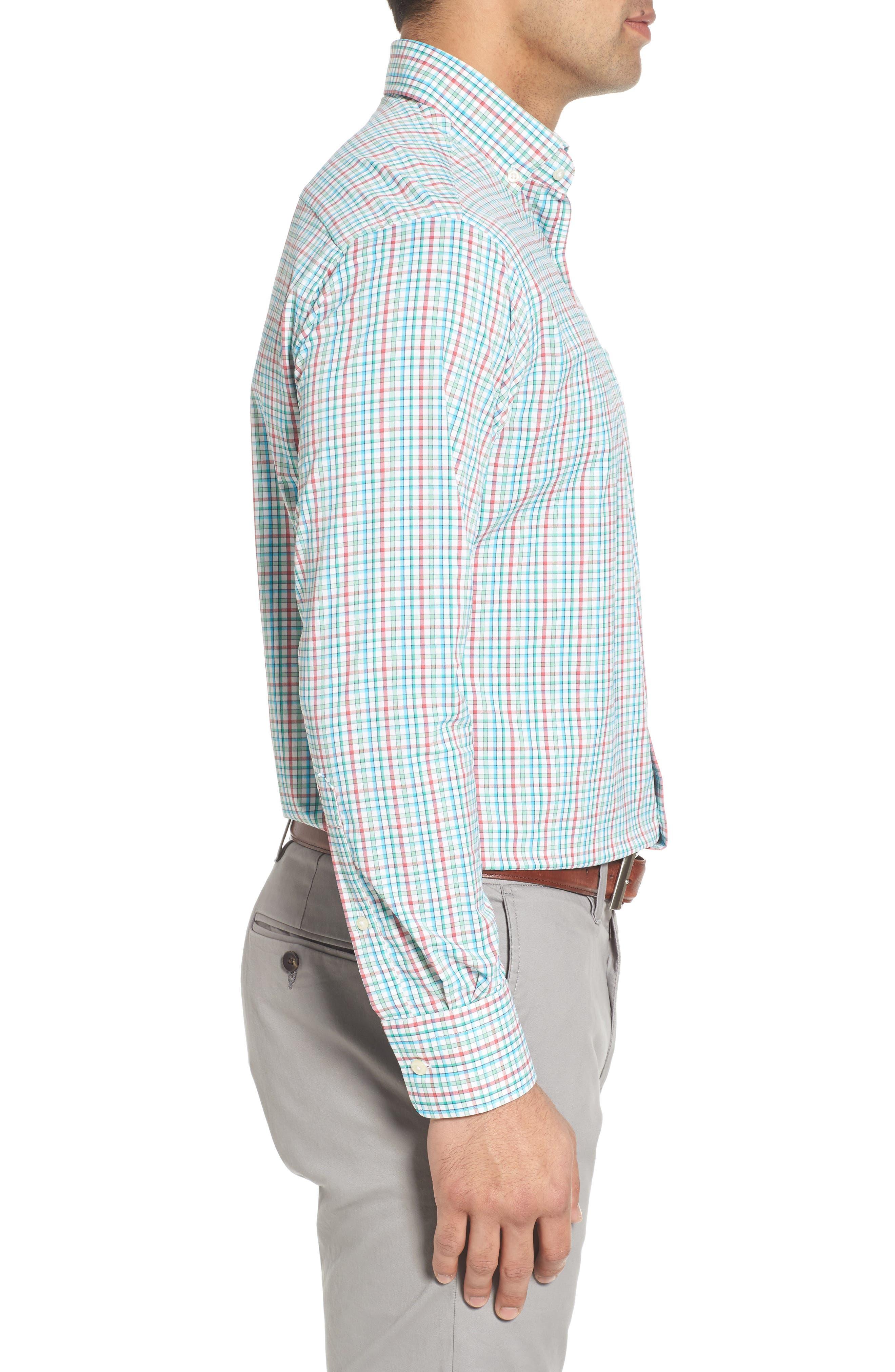 Gunn Regular Fit Tattersall Sport Shirt,                             Alternate thumbnail 3, color,                             100