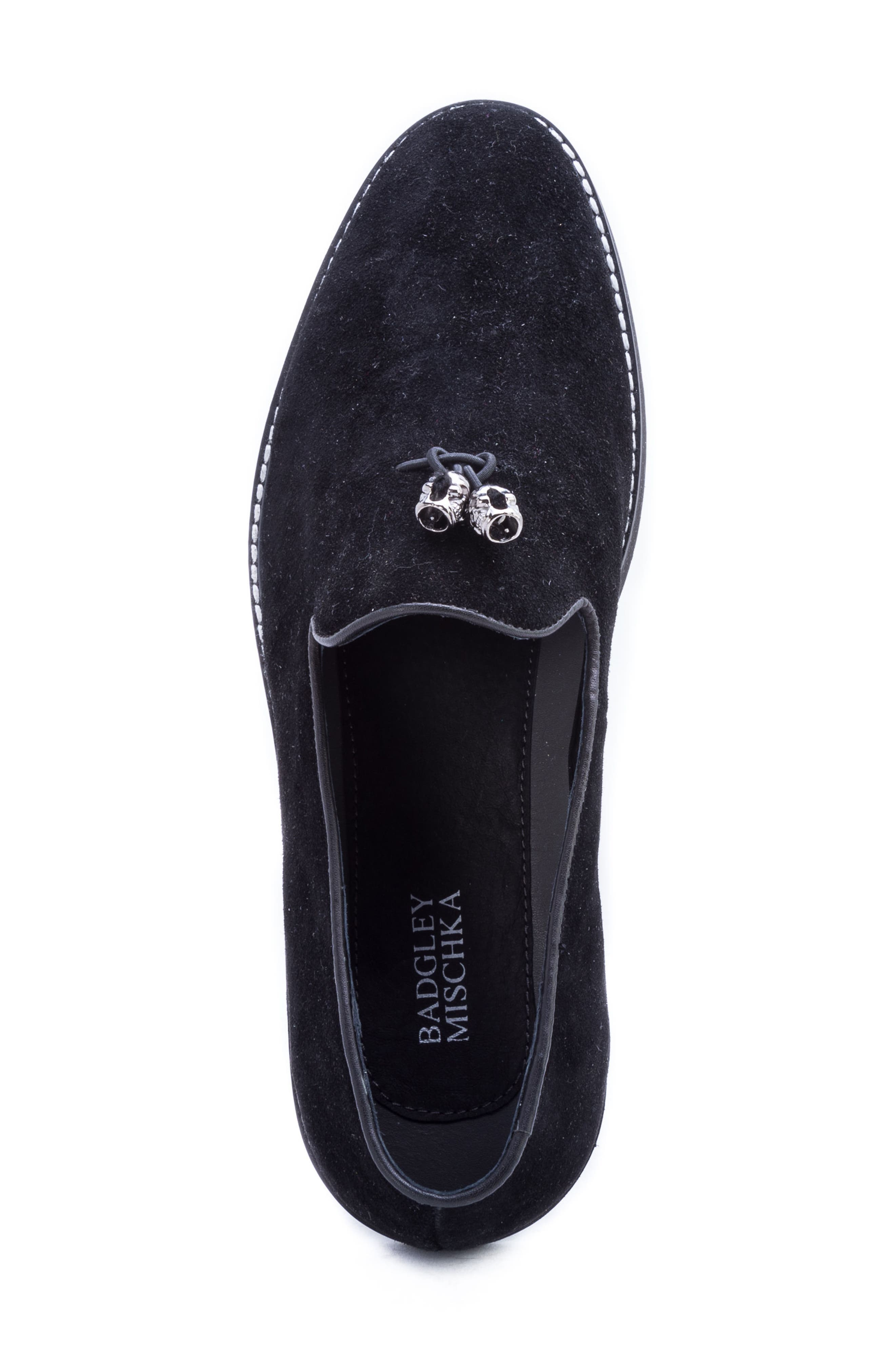 Badgley Mischka Heston Tassel Loafer,                             Alternate thumbnail 5, color,                             BLACK SUEDE