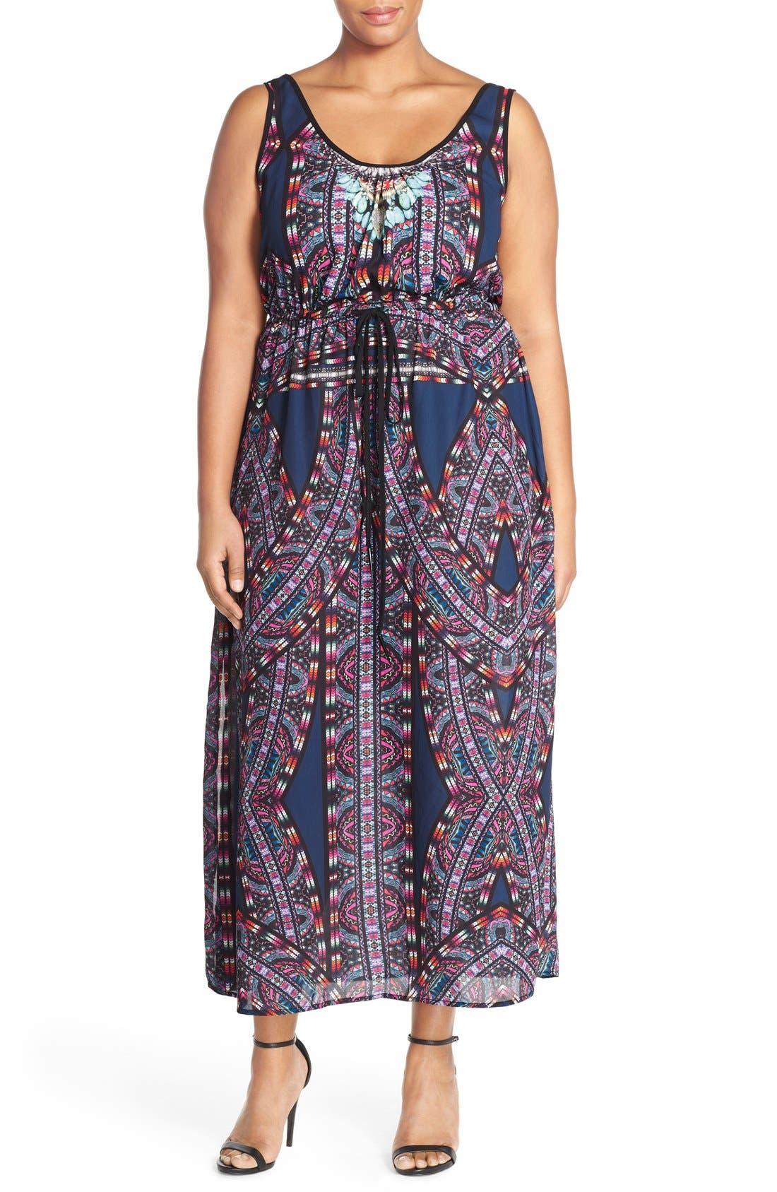 'Biba' Drawstring Maxi Dress,                             Main thumbnail 2, color,