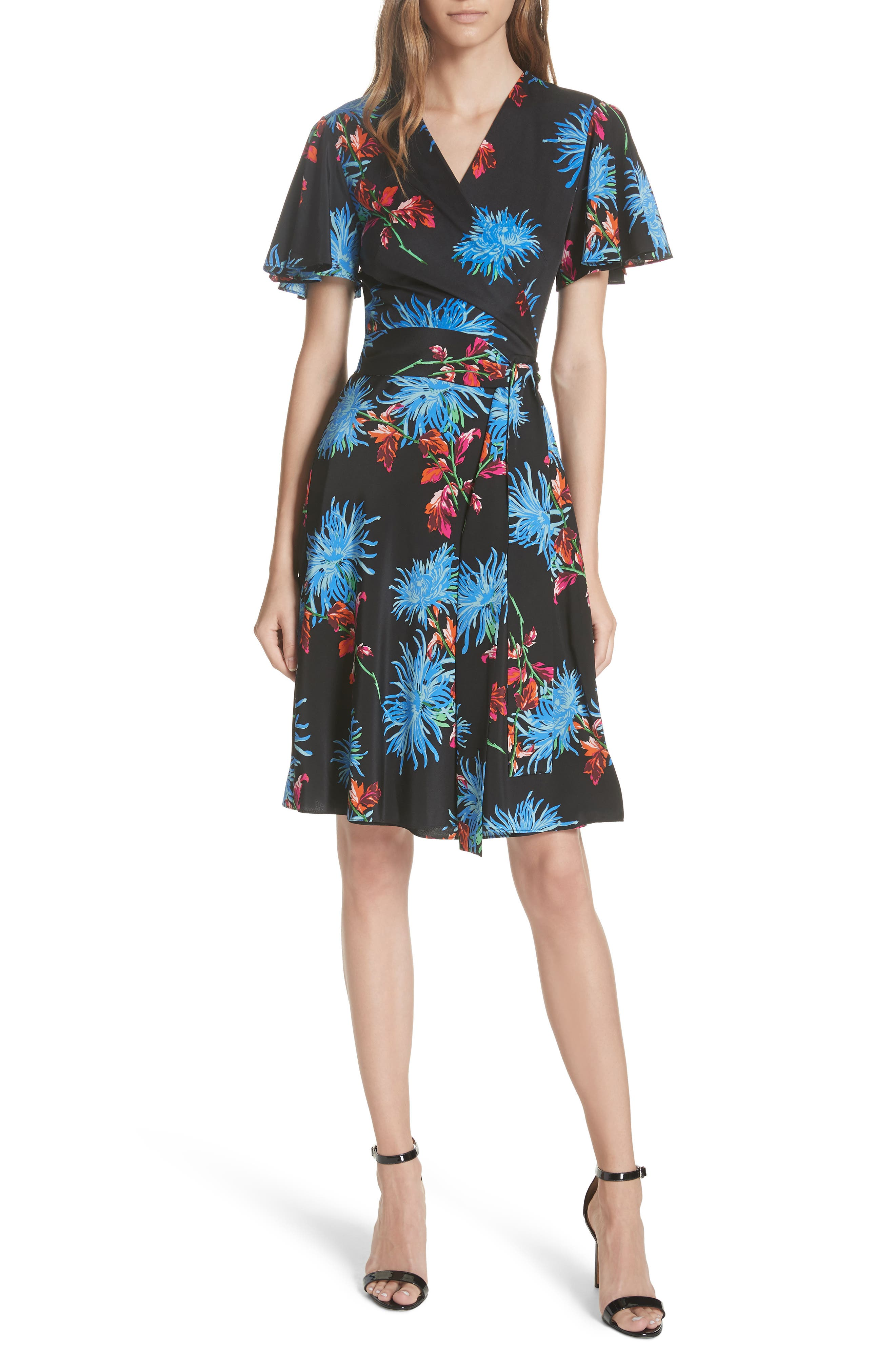 Diane von Furstenberg Flutter Sleeve Silk Wrap Dress,                             Main thumbnail 1, color,                             HEWES BLACK