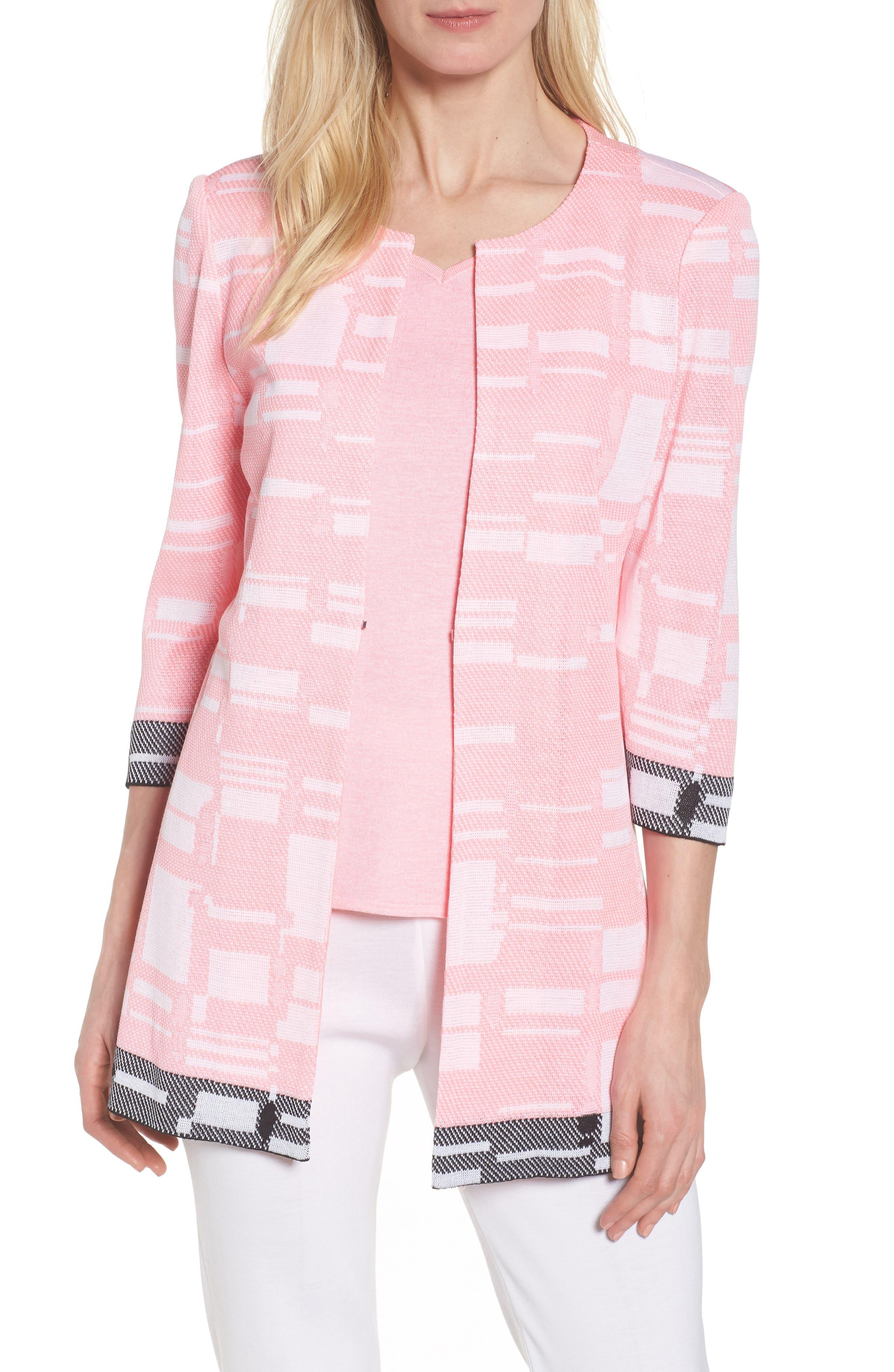 Multi Contrast Pattern Long Jacket,                             Main thumbnail 1, color,                             PINK LEMONADE/ WHITE/ BLACK