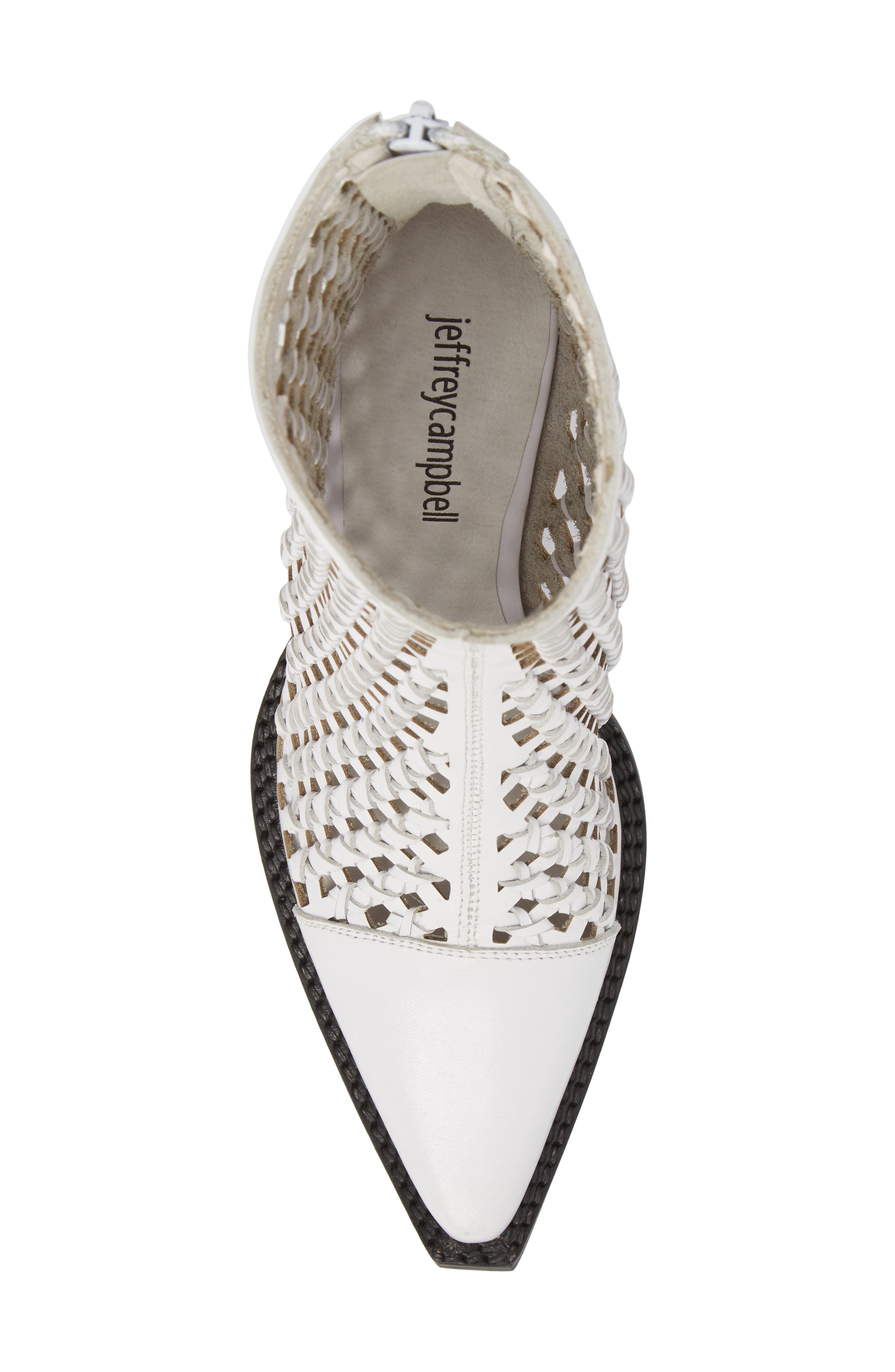 Waven Woven Bootie,                             Alternate thumbnail 5, color,                             WHITE LEATHER
