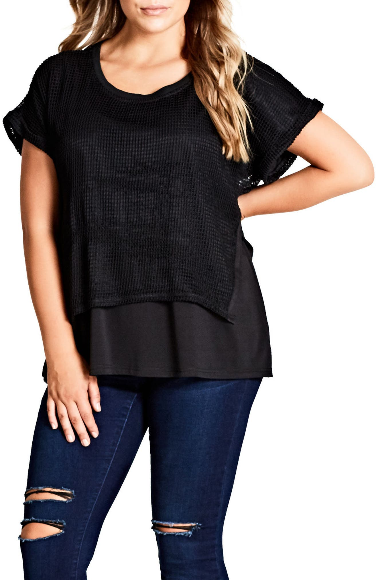 Mesh Overlay Top,                         Main,                         color,