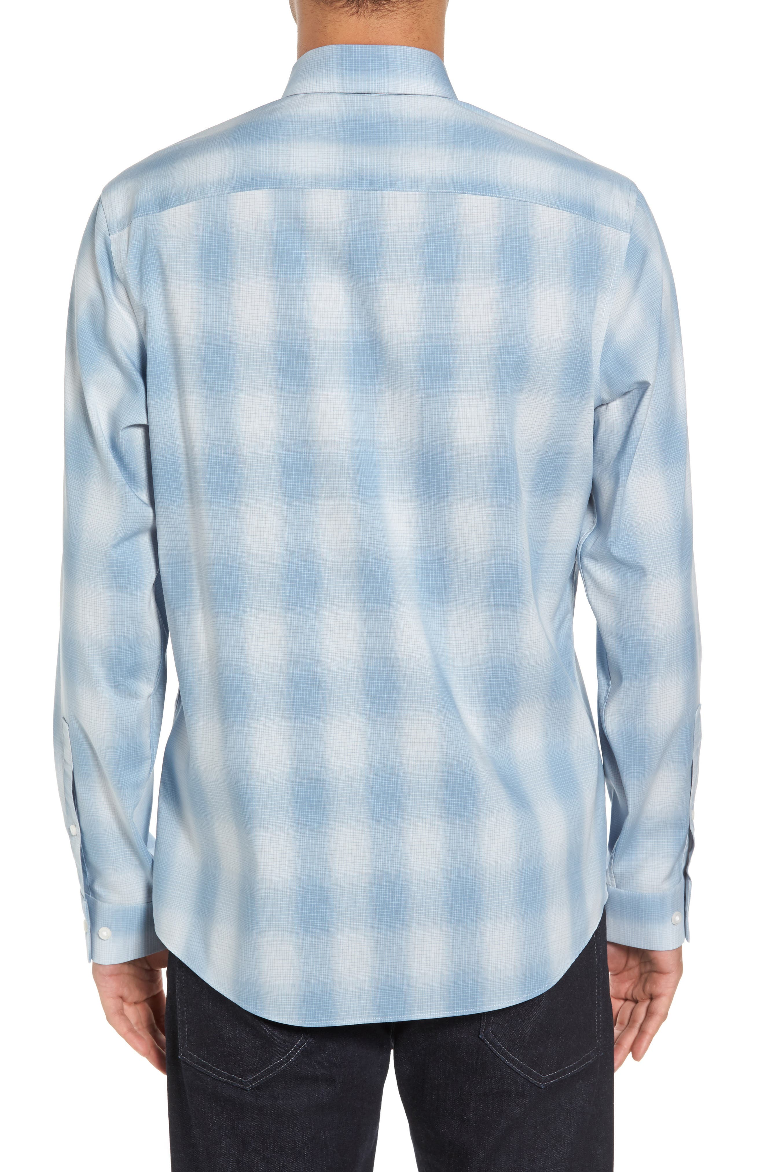 Trim Fit Plaid Sport Shirt,                             Alternate thumbnail 4, color,