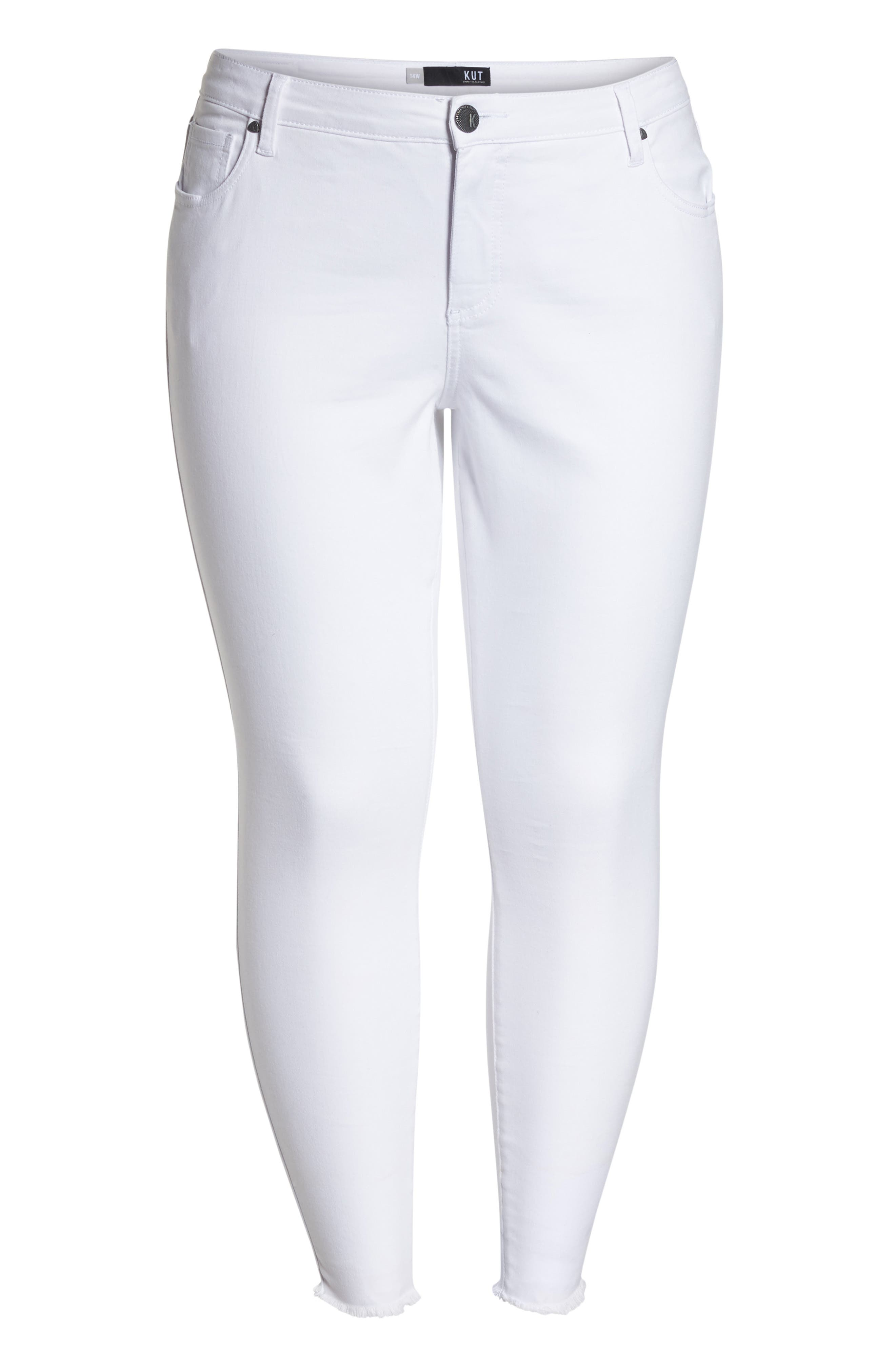 Donna Ankle Frayed Skinny Jeans,                             Alternate thumbnail 7, color,                             OPTIC WHITE