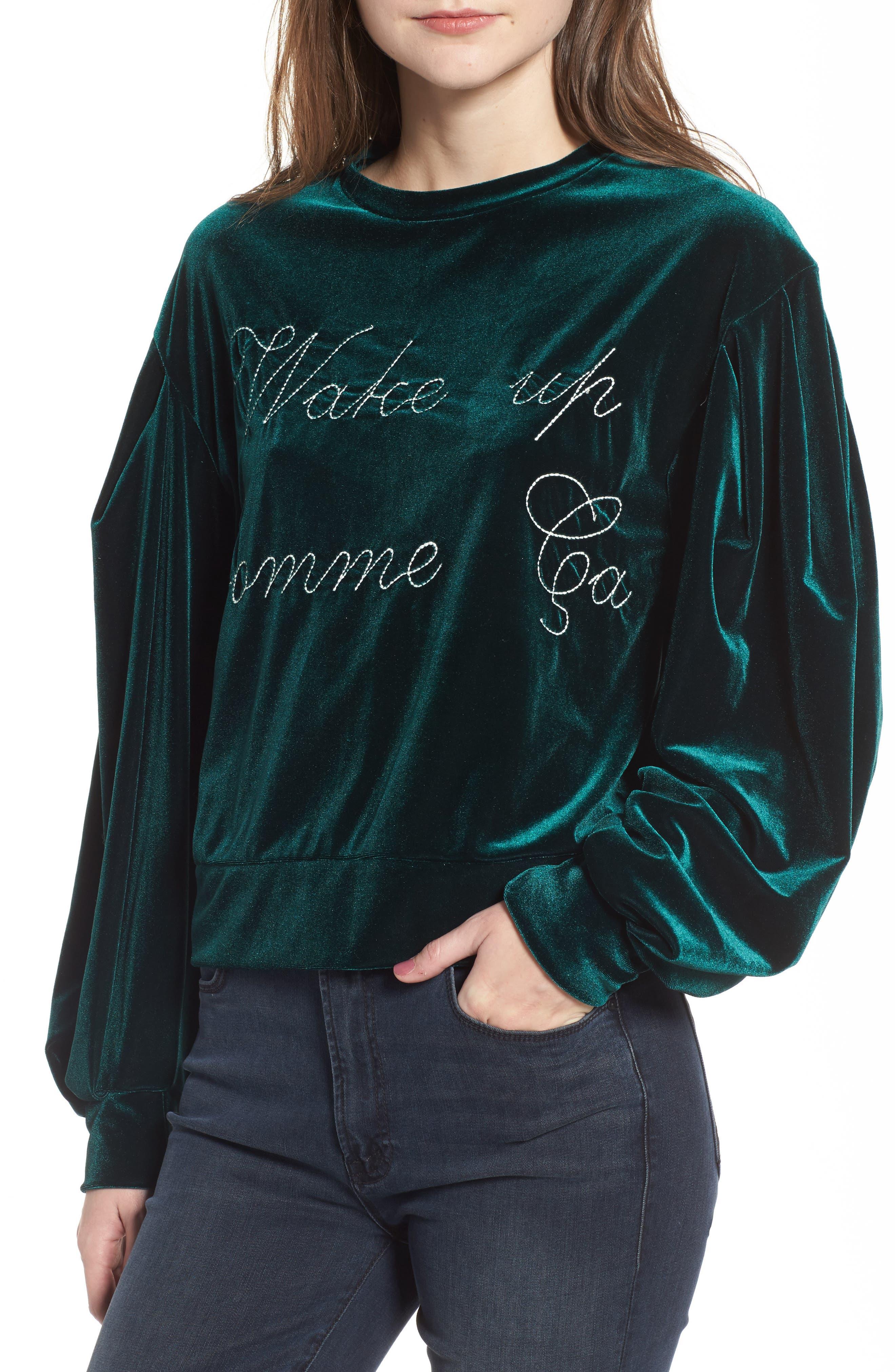 Comme Ca Velvet Sweatshirt,                             Main thumbnail 1, color,                             300
