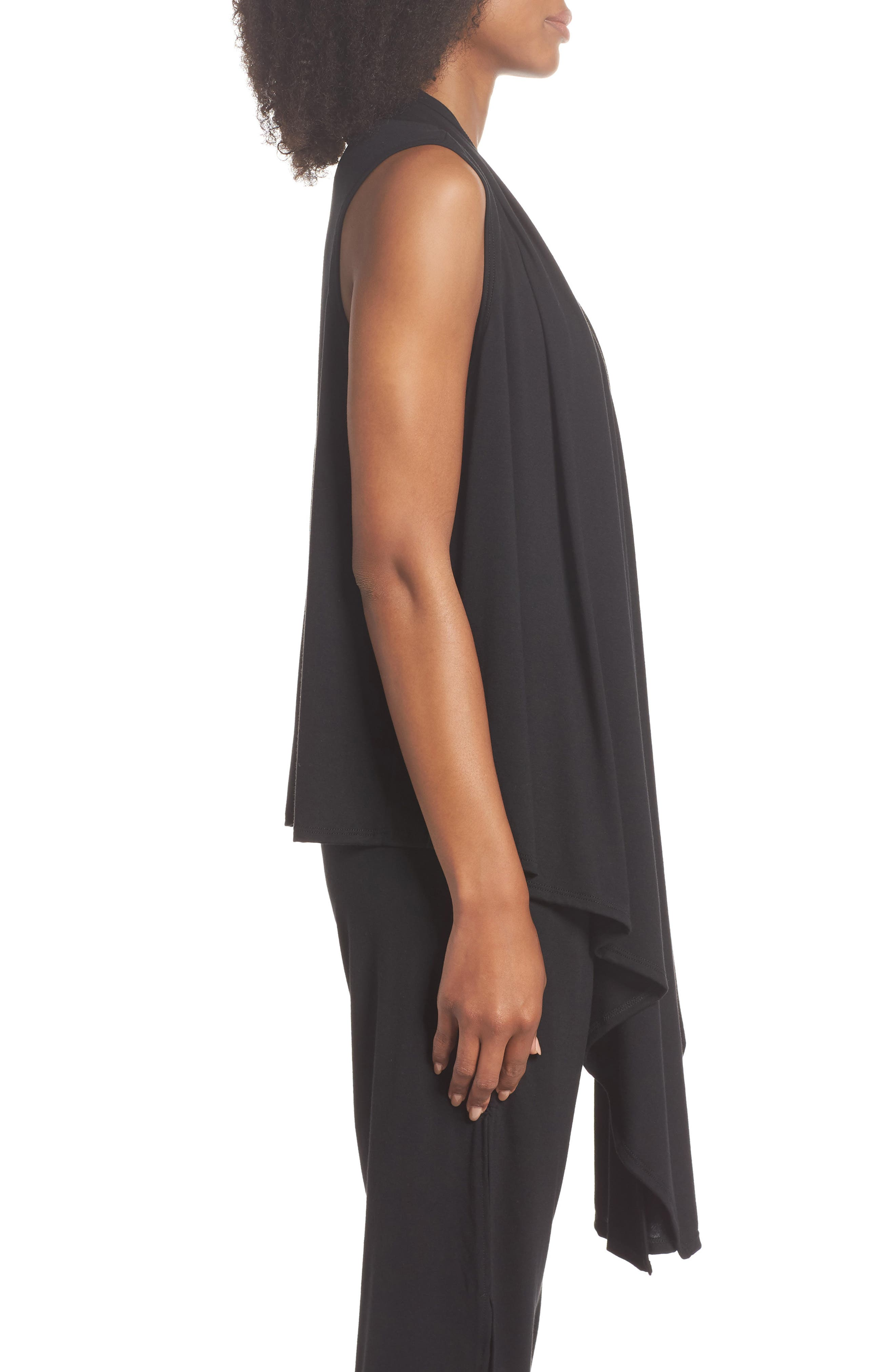 Sleeveless Cardigan,                             Alternate thumbnail 3, color,                             BLACK