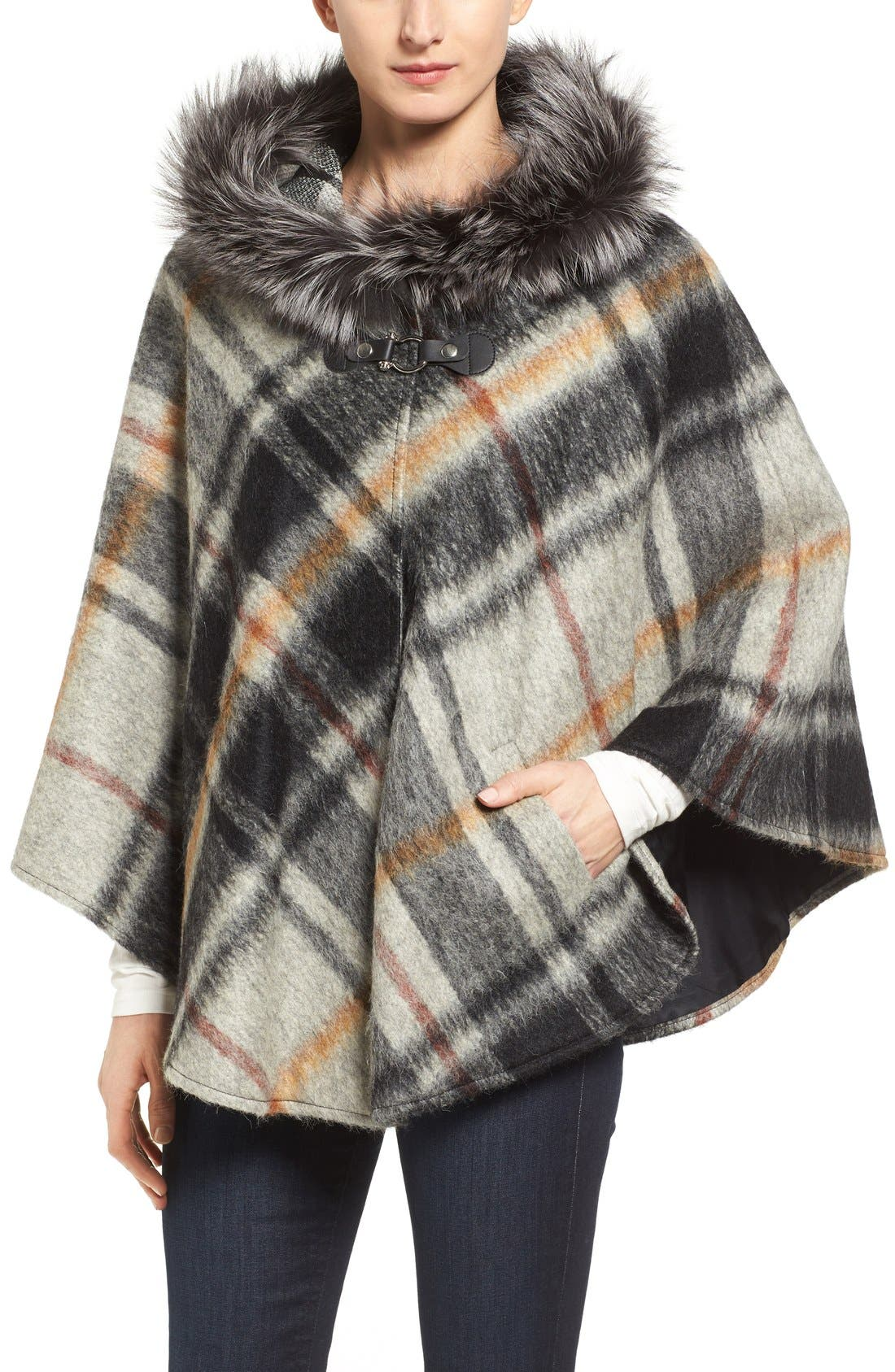 HISO Hide Society Hooded Plaid Cape with Genuine Fox Fur Trim, Main, color, 020