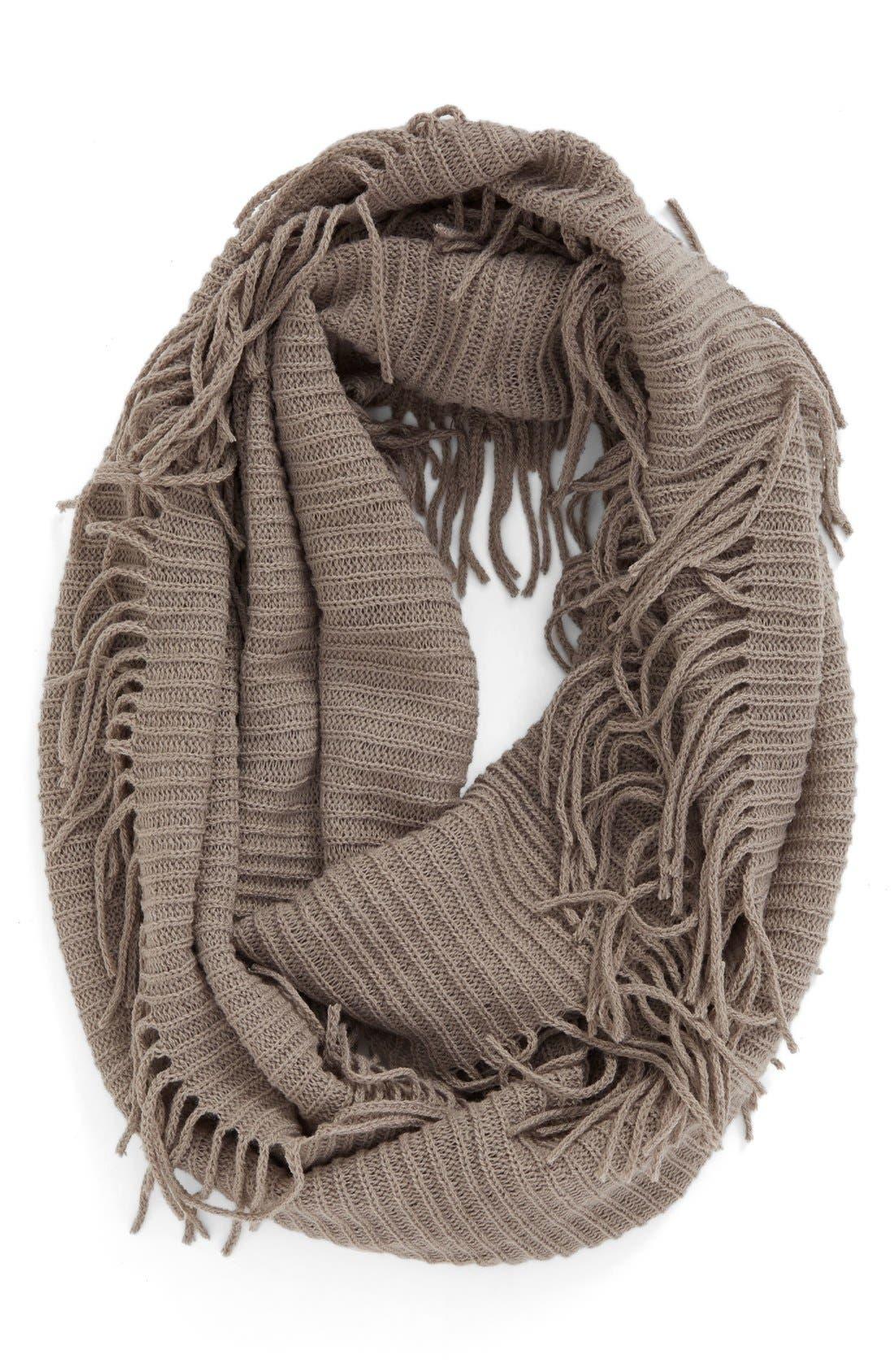 Rib Knit Fringe Infinity Scarf,                             Main thumbnail 2, color,