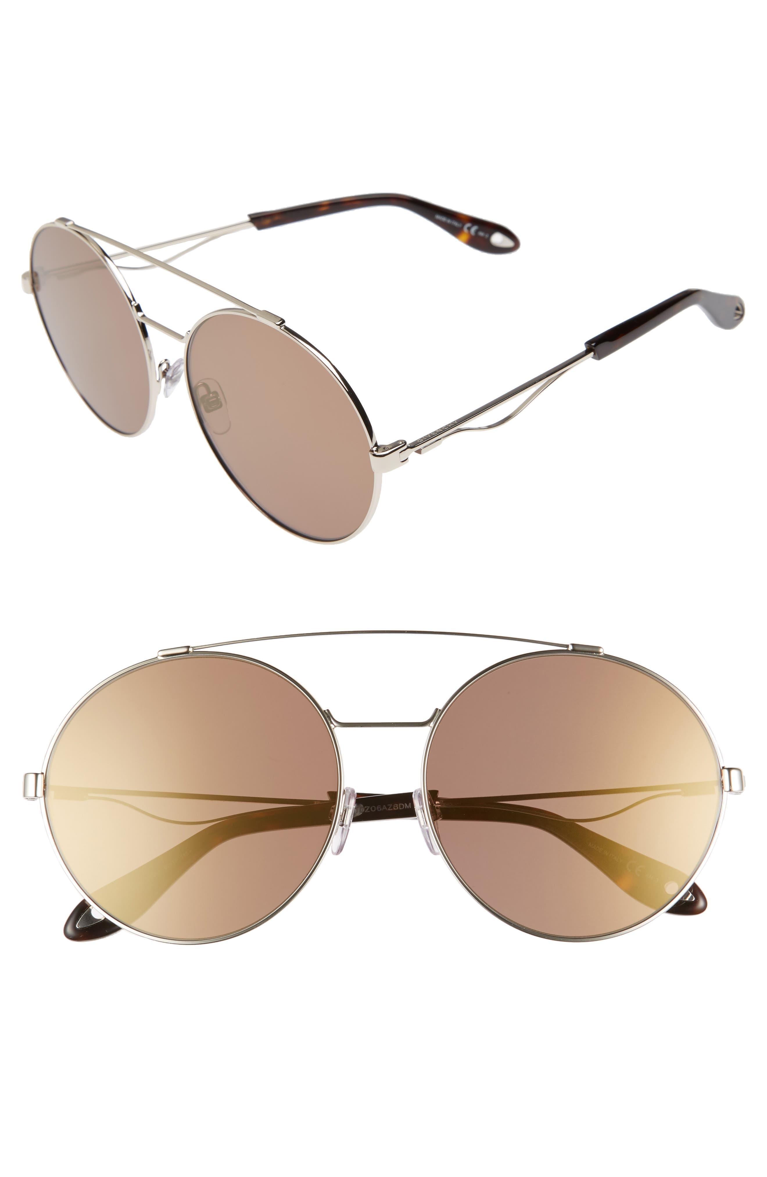 62mm Oversize Round Sunglasses,                             Main thumbnail 1, color,                             LIGHT GOLD