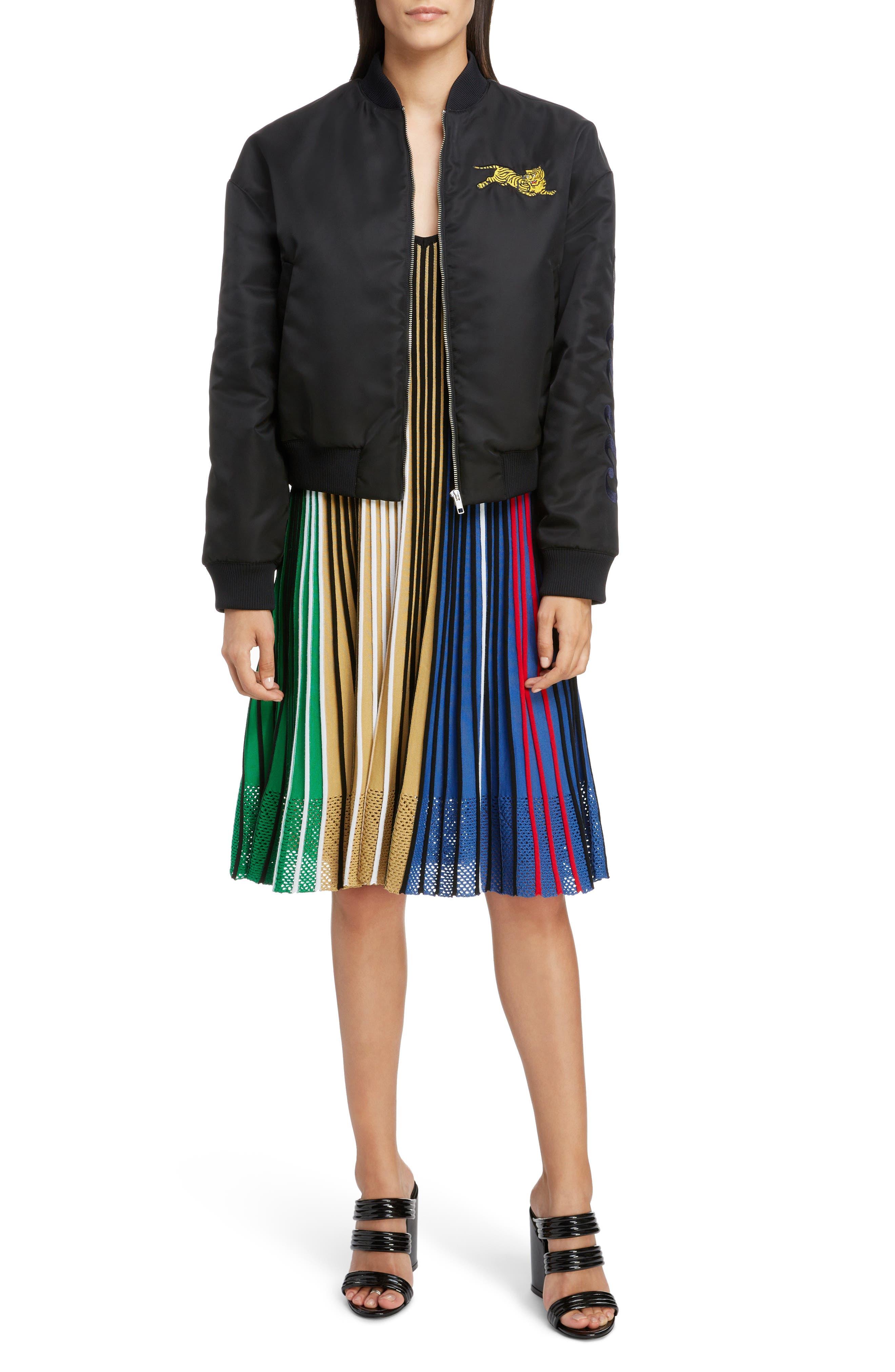 Pleated Rib Knit Dress,                             Alternate thumbnail 7, color,                             MULTICOLOR