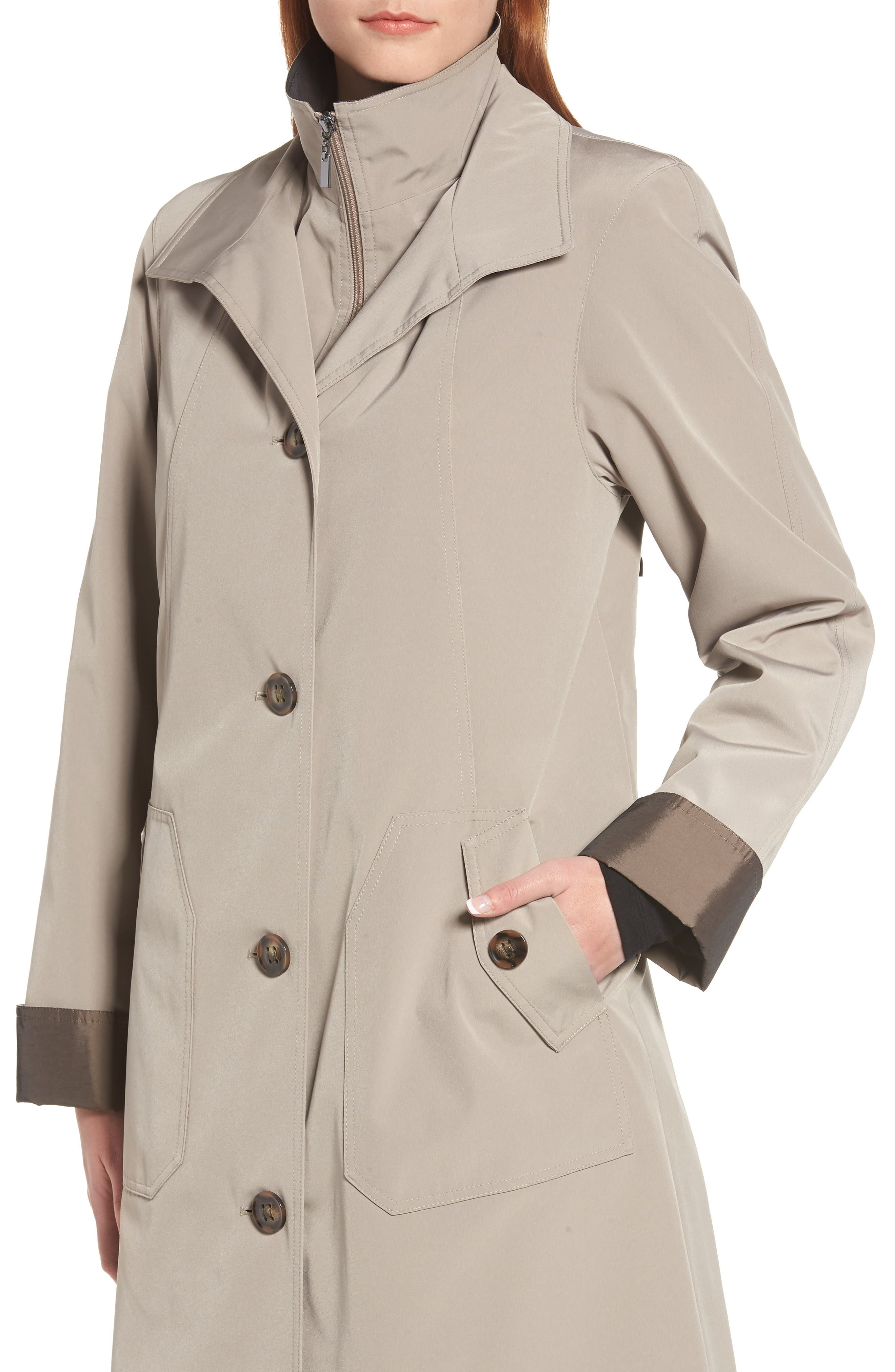 Full Length Two-Tone Silk Look Raincoat,                             Alternate thumbnail 4, color,                             MUSHROOM