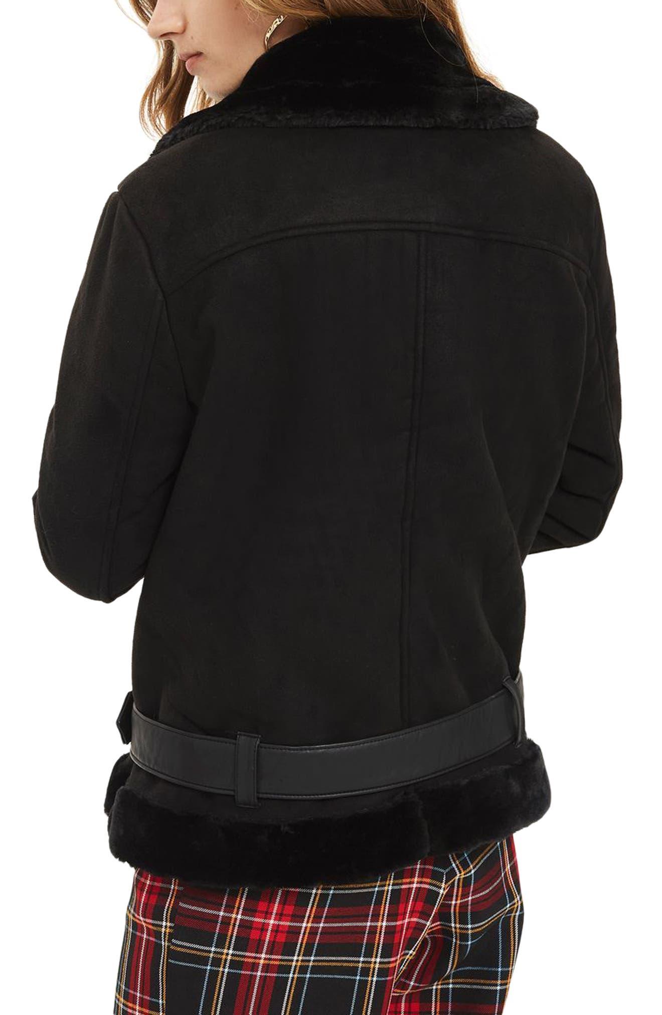 Faux Shearling Biker Jacket,                             Alternate thumbnail 2, color,                             001