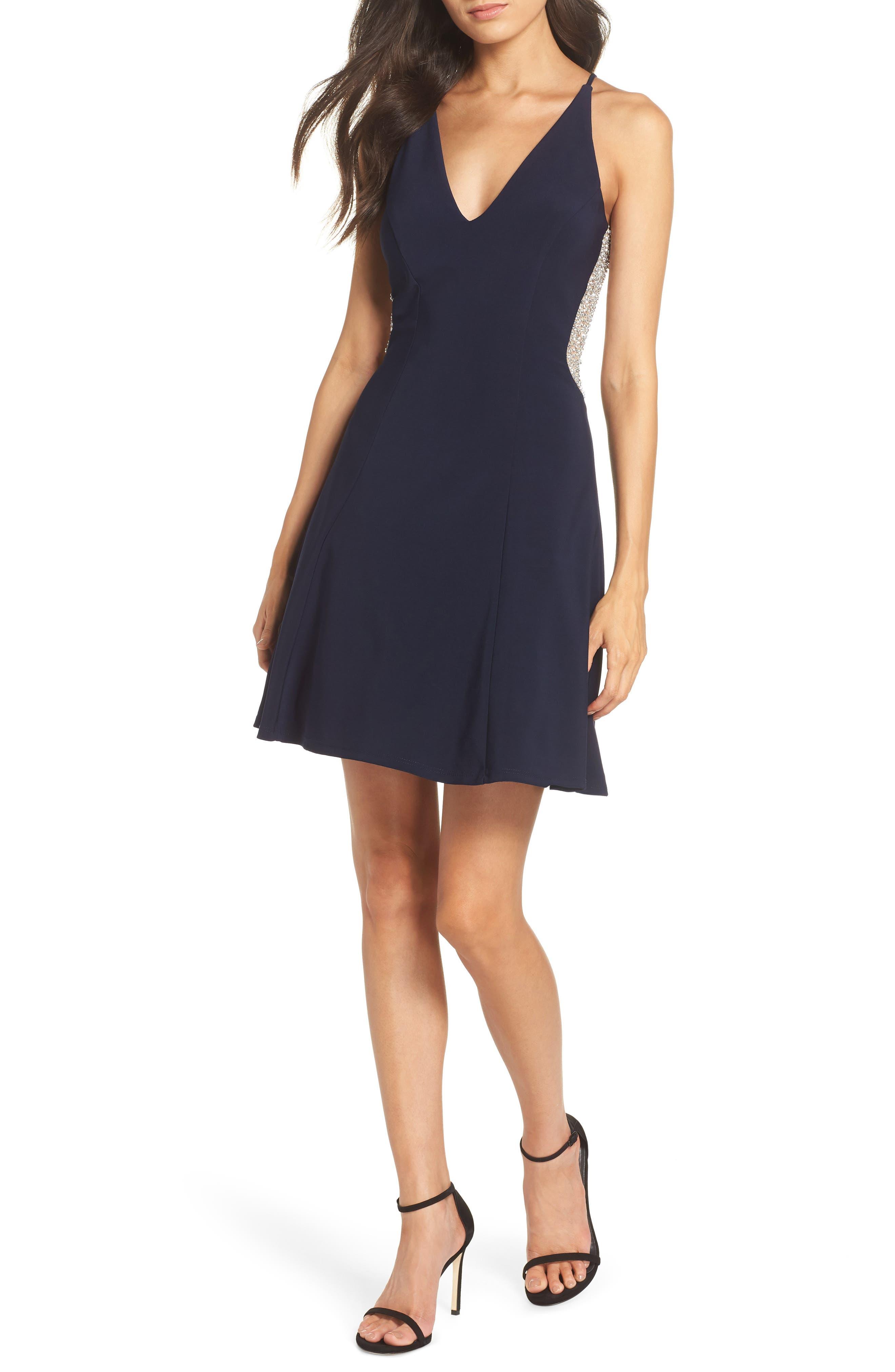 Deep V-Neck Skater Dress,                         Main,                         color, NAVY/ NUDE/ SILVER